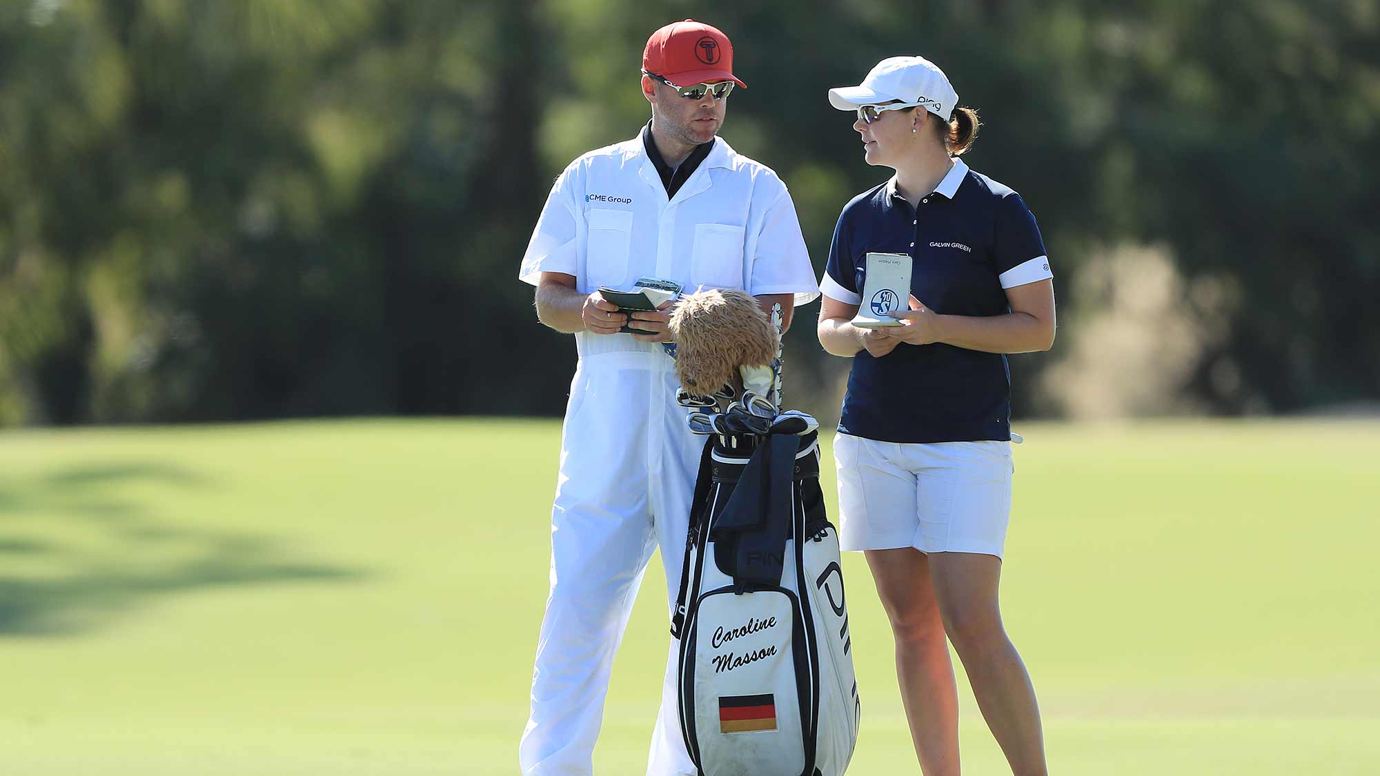 Caroline Masson of Germany talks with her caddie on the second hole during the second round of the CME Group Tour Championship at Tiburon Golf Club on November 22, 2019 in Naples, Florida