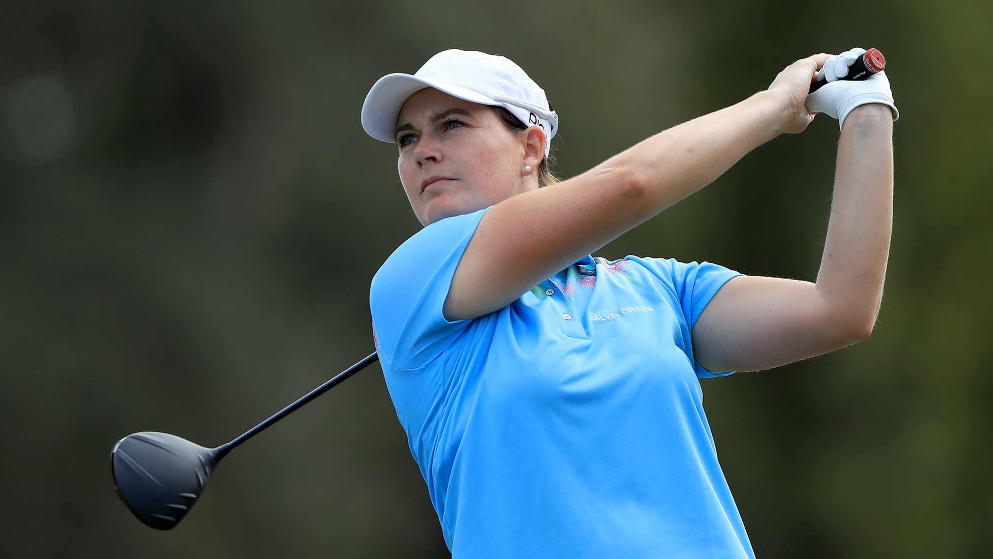 Caroline Masson of Germany plays a shot on the third hole during the third round of the CME Group Tour Championship at Tiburon Golf Club on November 23, 2019 in Naples, Florida