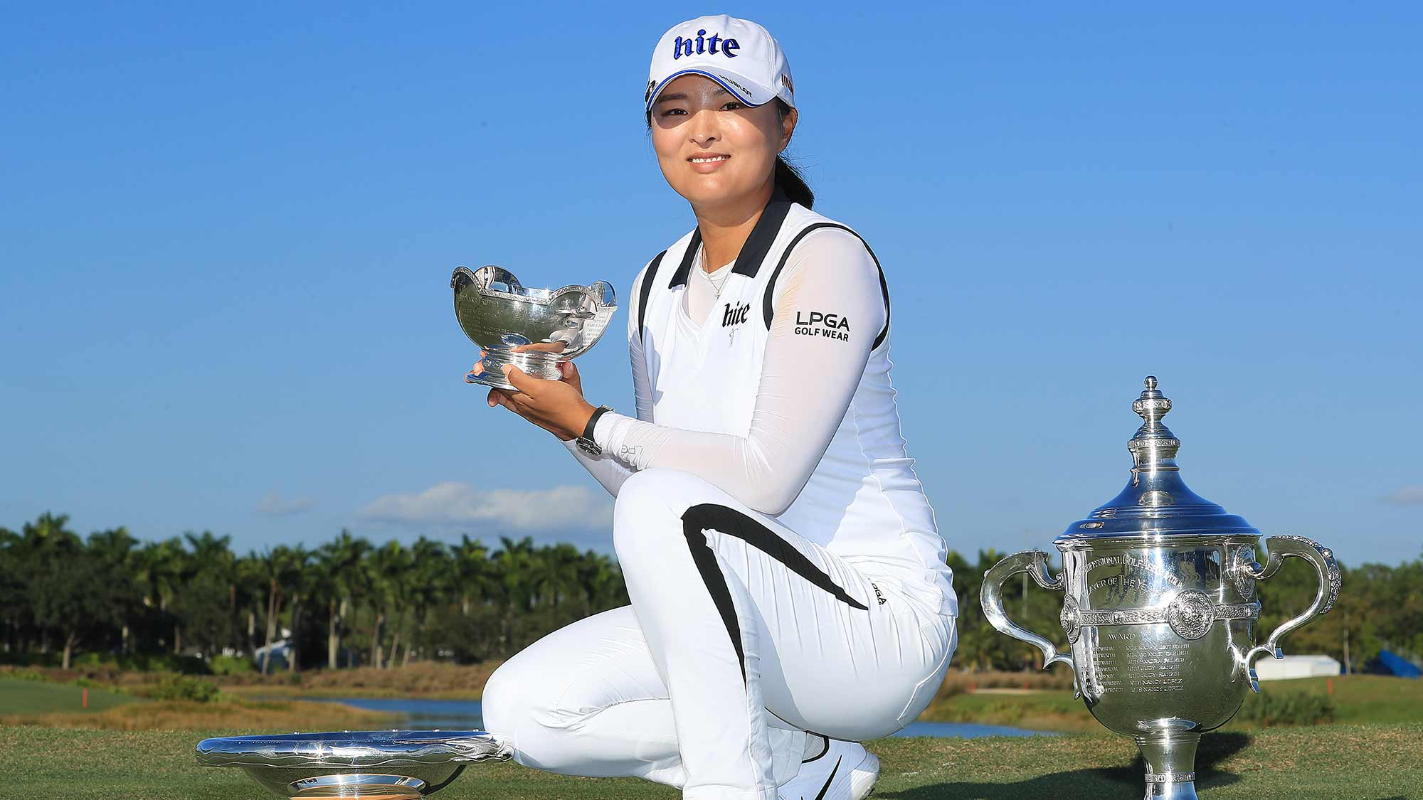 Jin Young Ko of South Korea poses with the Rolex Annika Major Award, Vare Trophy and the Rolex Player of the Year trophy after the final round of the CME Group Tour Championship at Tiburon Golf Club on November 24, 2019 in Naples, Florida