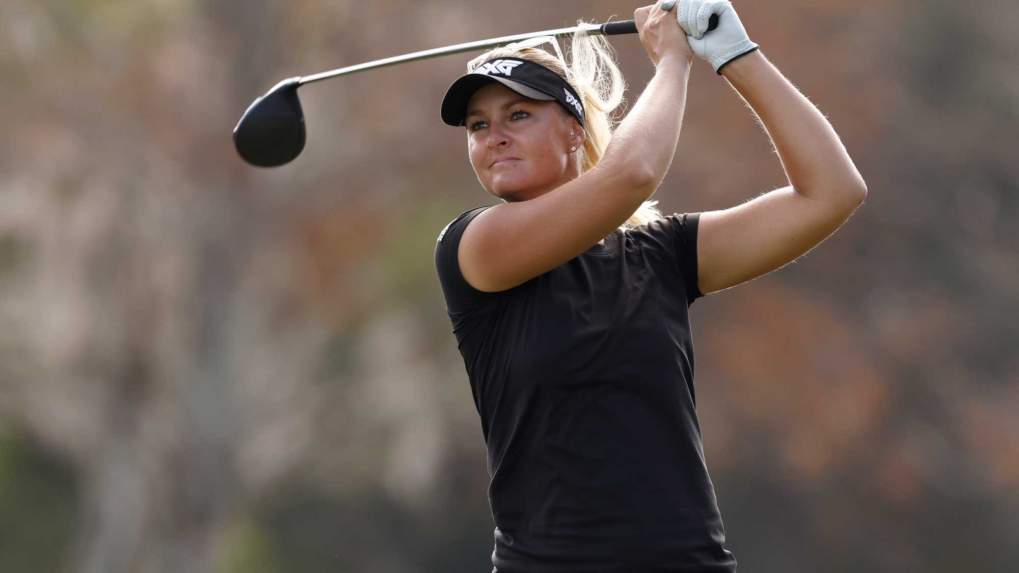 Anna Nordqvist of Sweden plays her shot from the third tee during the first round of the CME Group Tour Championship