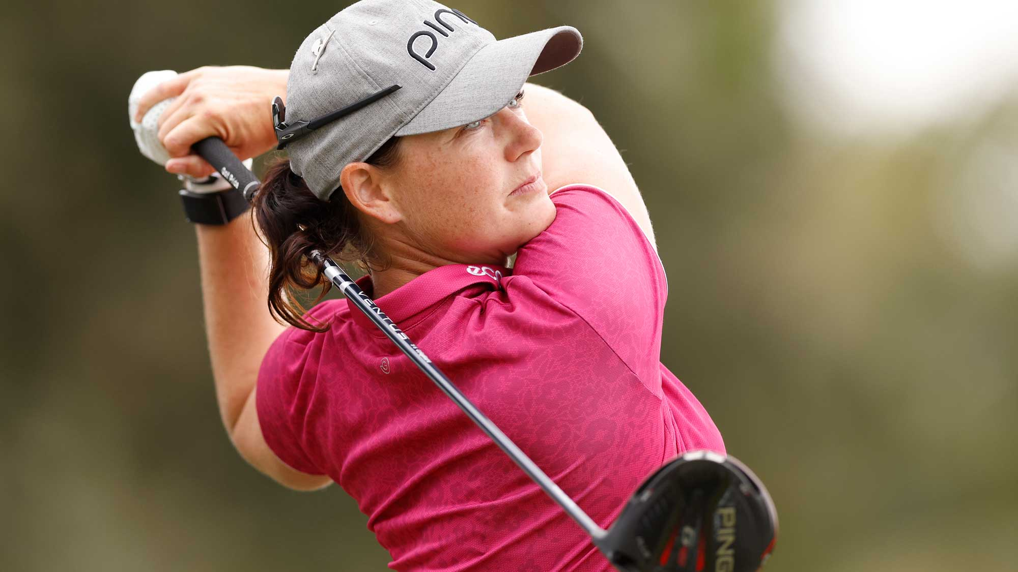 Caroline Masson of Germany plays her shot from the 18th tee during the first round of the CME Group Tour Championship
