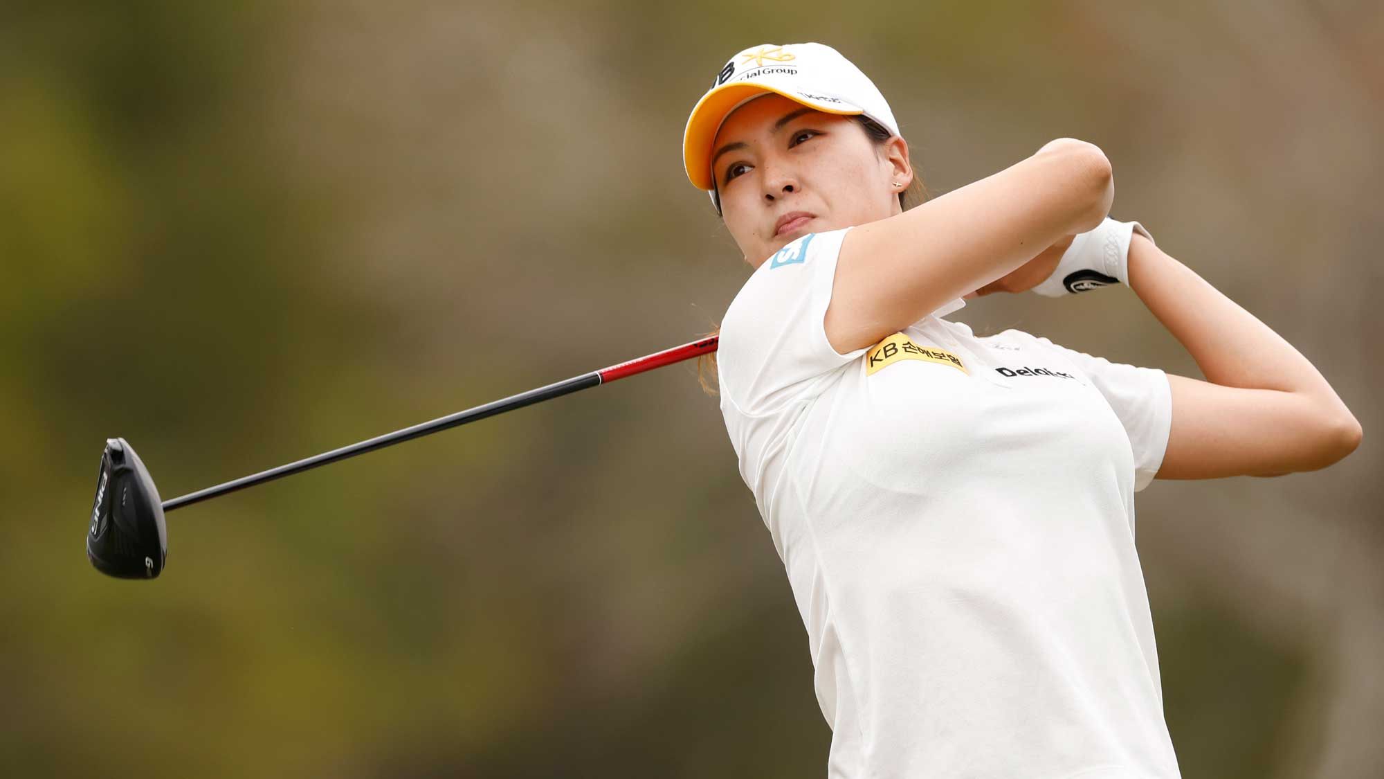 In-gee Chun of Korea plays her shot from the third tee during the first round of the CME Group Tour Championship