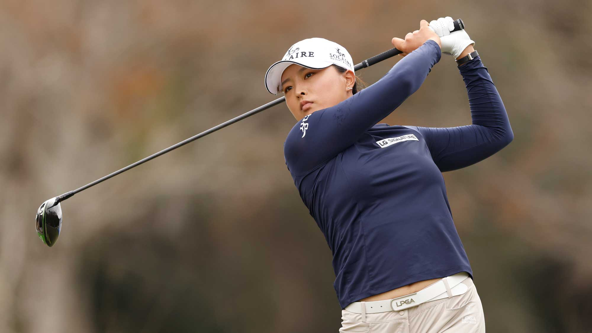 Jin Young Ko of Korea plays her shot from the third tee during the first round of the CME Group Tour Championship