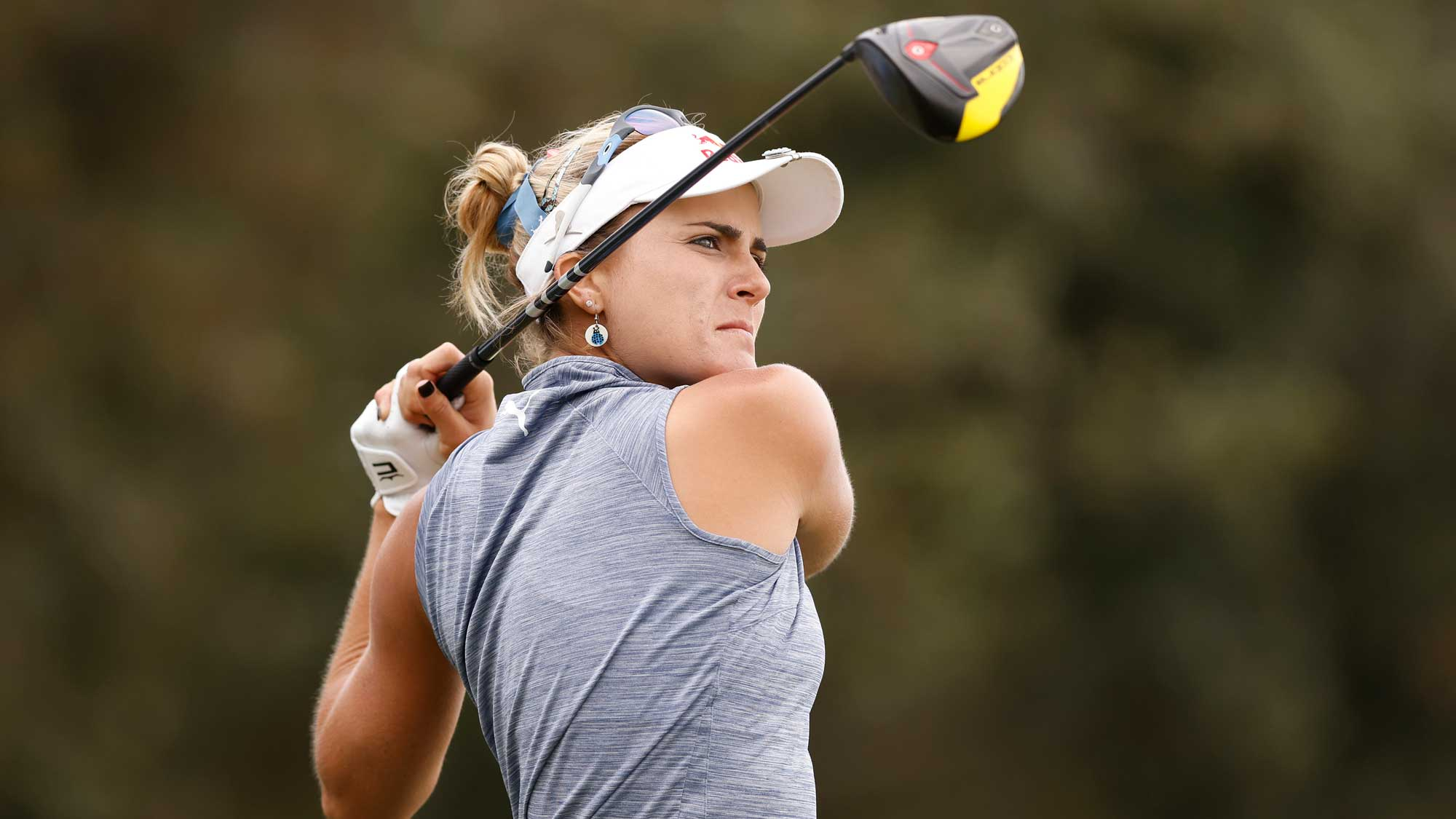 Lexi Thompson of the United States plays her shot from the 18th tee during the first round of the CME Group Tour Championship