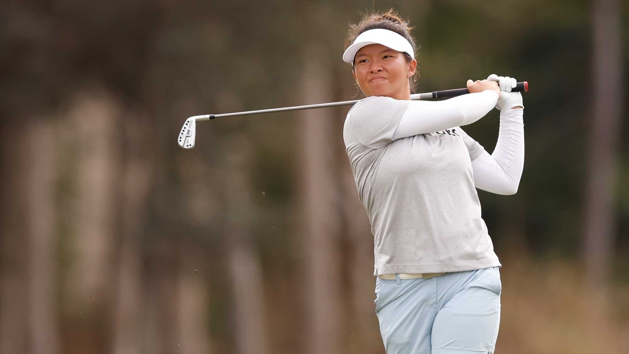 Megan Khang of the United States plays a shot on the third hole during the first round of the CME Group Tour Championship