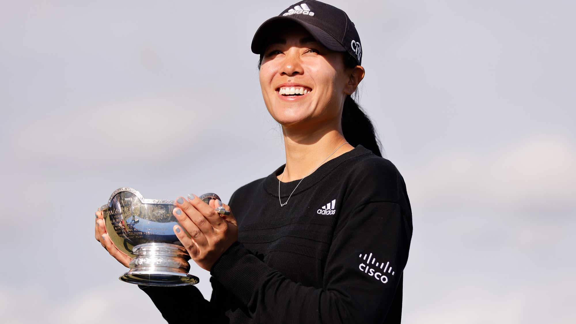 Danielle Kang of the United States poses with the Vare Trophy after the final round of the CME Group Tour Championship