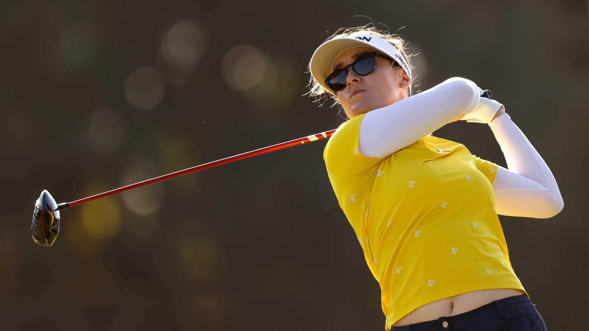 Hannah Green of Australia plays her shot from the third tee during the final round of the CME Group Tour Championship