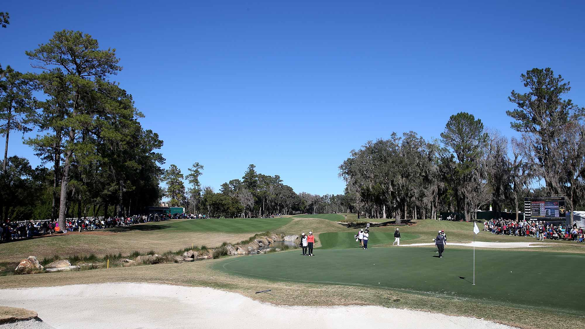 A general view of the 18th green during the continuation of the second round of the Coates Golf Championship Presented By R+L Carriers at Golden Ocala Golf Club
