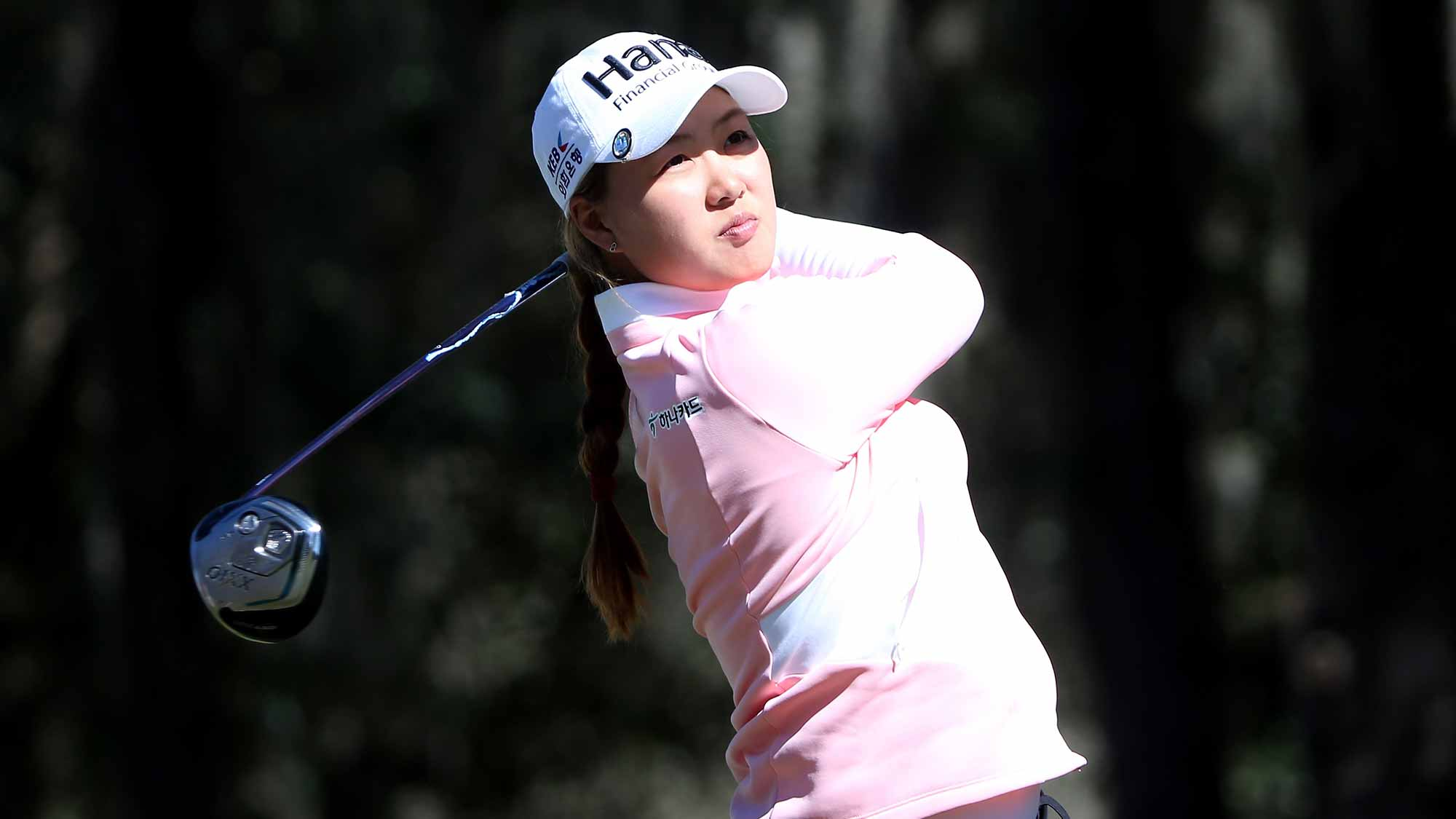 Minjee Lee of Australia plays a shot on the 18th hole during the continuation of the second round of the Coates Golf Championship Presented By R+L Carriers at Golden Ocala Golf Club