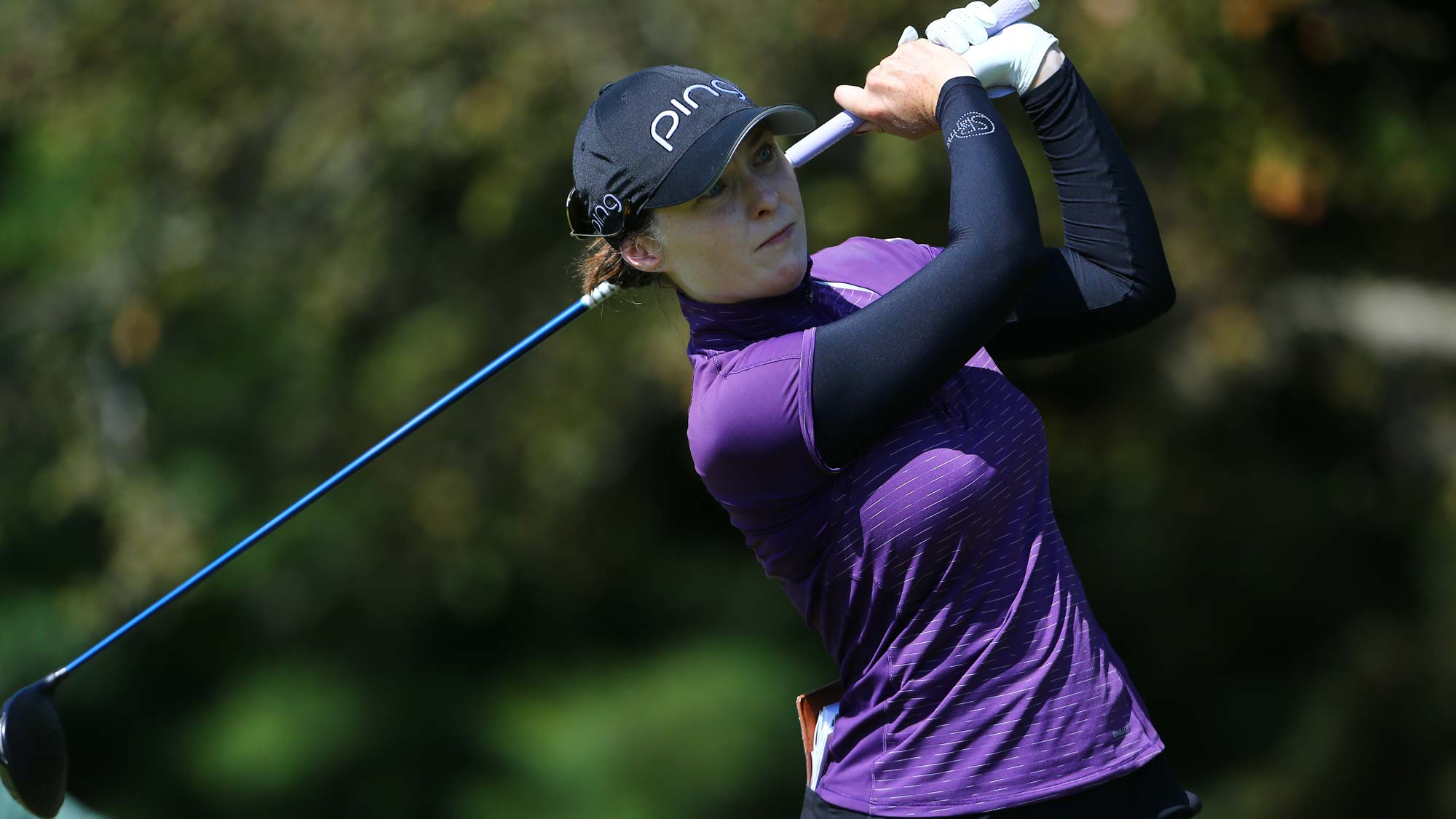 Brittany Altomare watches her drive on the 5th hole during the first round of the Dow Great Lakes Bay Invitational