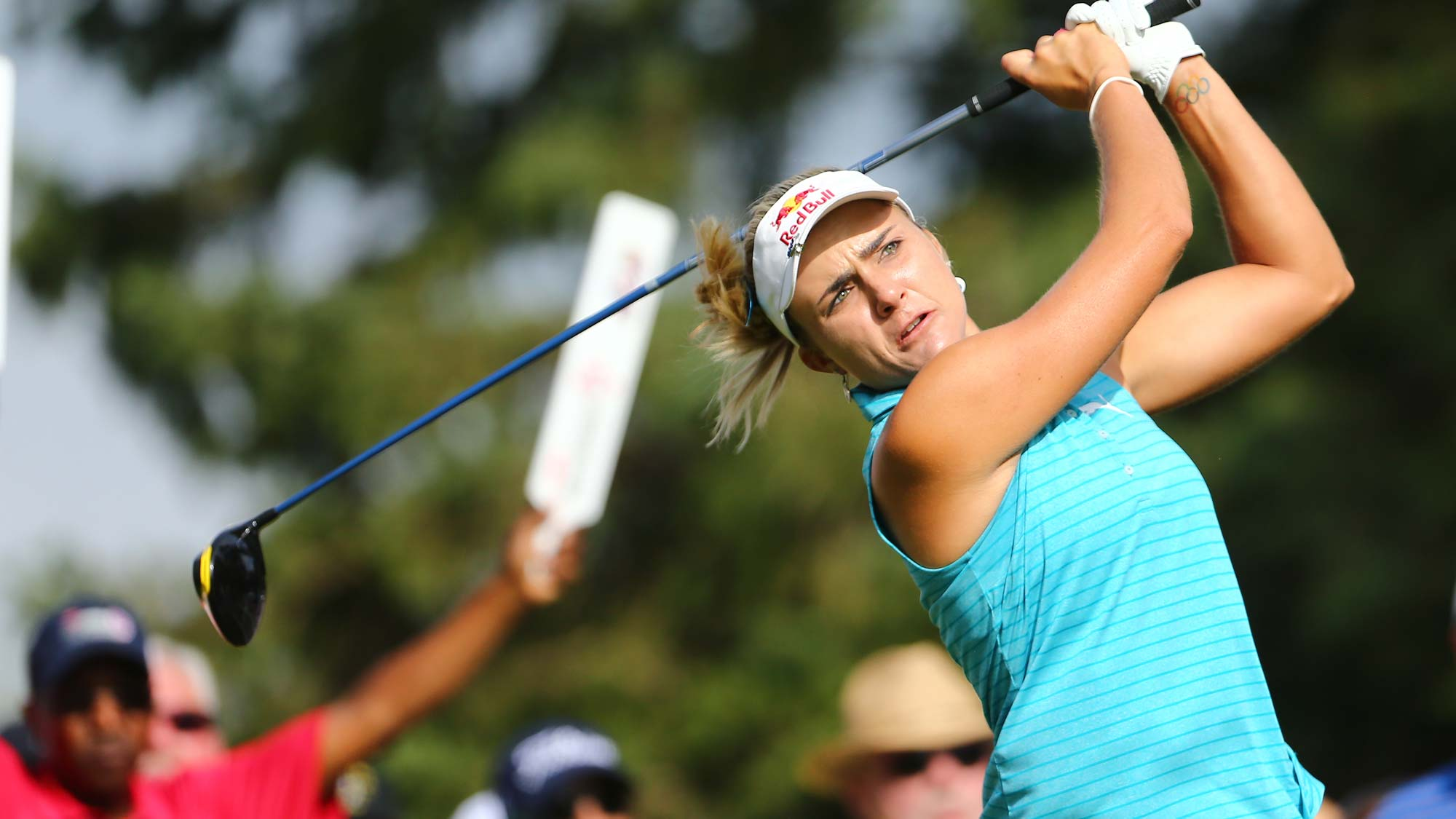 Lexi Thompson watches her drive on the 10th hole during the first round of the Dow Great Lakes Bay Invitational