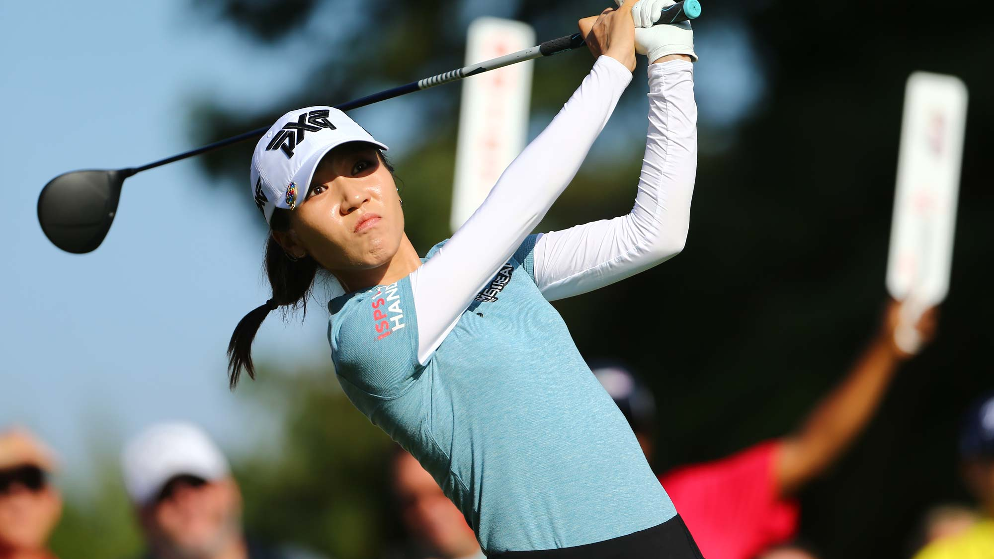 Lydia Ko of New Zealand watches her drive on the 10th hole during the first round of the Dow Great Lakes Bay Invitational