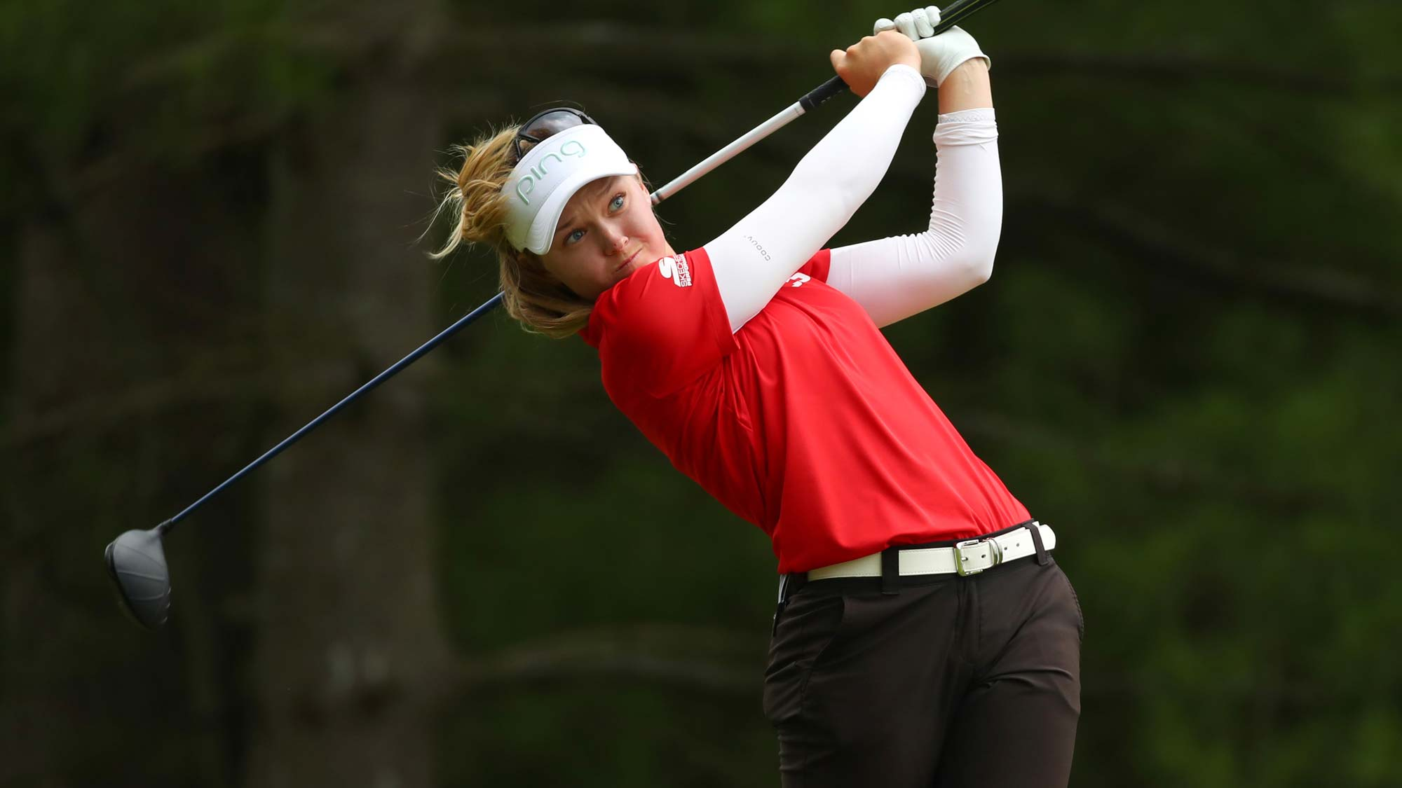 Brooke Henderson watches her drive on the second hole during round two of the Dow Great Lakes Bay Invitational