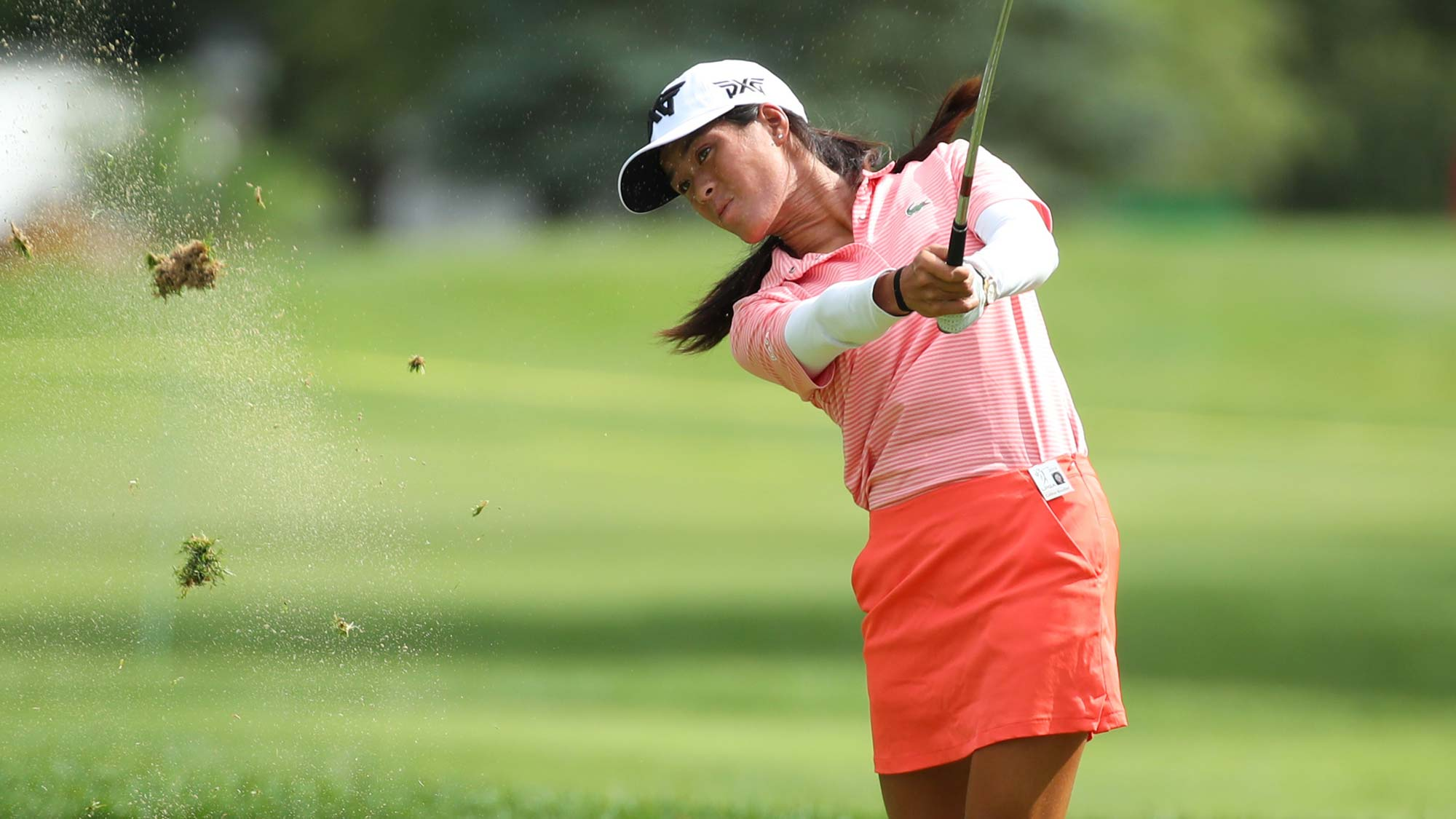 Celine Boutier of France watches second shot on the 17th hole during round two of the Dow Great Lakes Bay Invitational