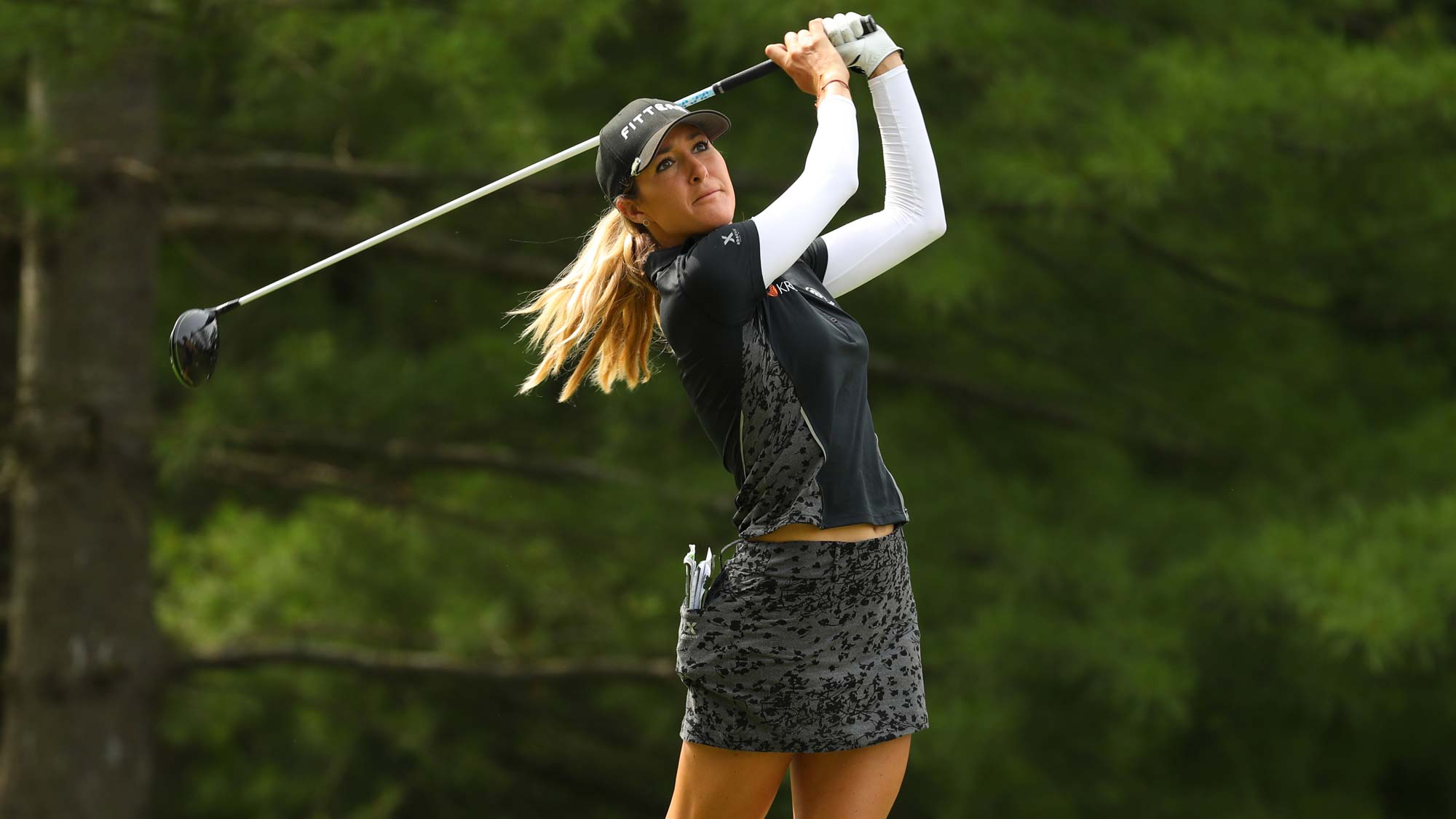 Jaye Marie Green watches her drive on the second hole during round two of the Dow Great Lakes Bay Invitational