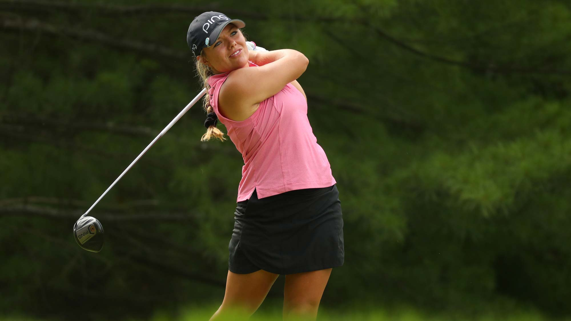 Kristen Gillman watches her drive on the second hole during round two of the Dow Great Lakes Bay Invitational