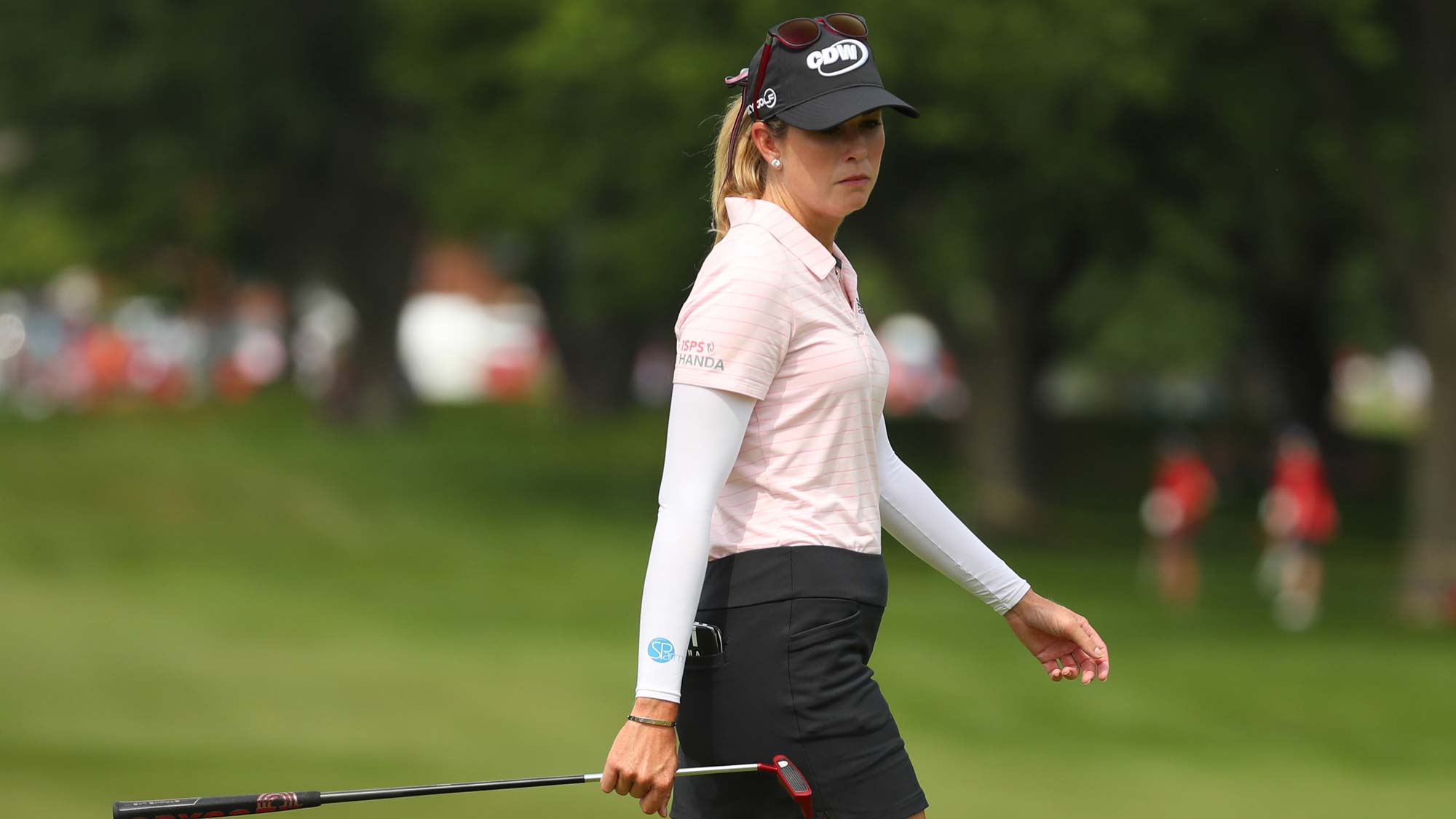 Paula Creamer reads a putt on the first hole during round two of the Dow Great Lakes Bay Invitational