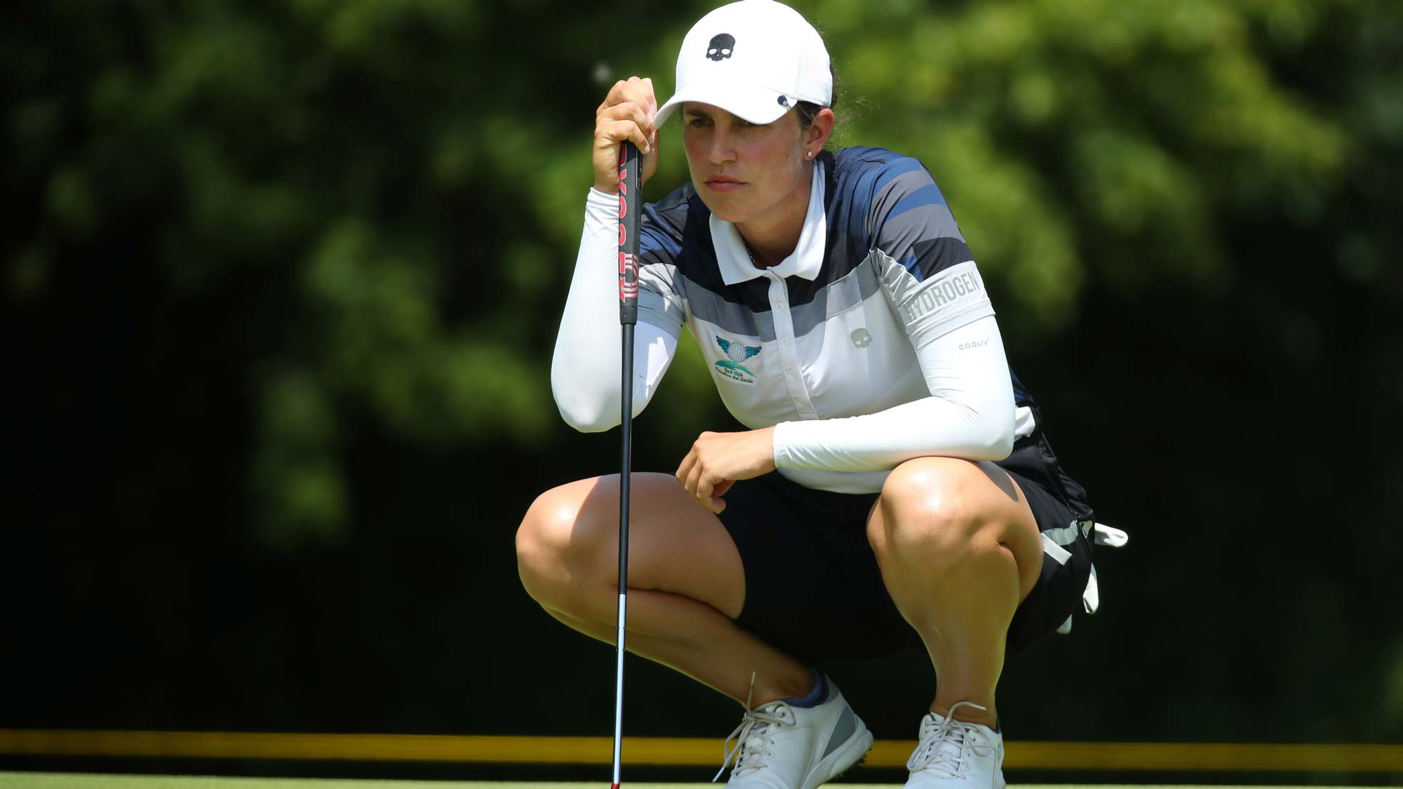 Giulia Molinaro of Italy reads a putt on the sixth green during round three of the Dow Great Lakes Bay Invitational