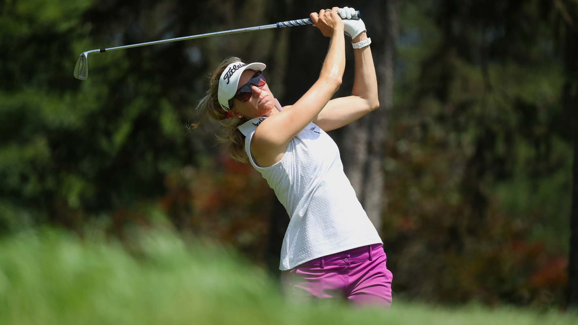 Kris Tamulis watches her tee shot on the seventh hole during round three of the Dow Great Lakes Bay Invitational