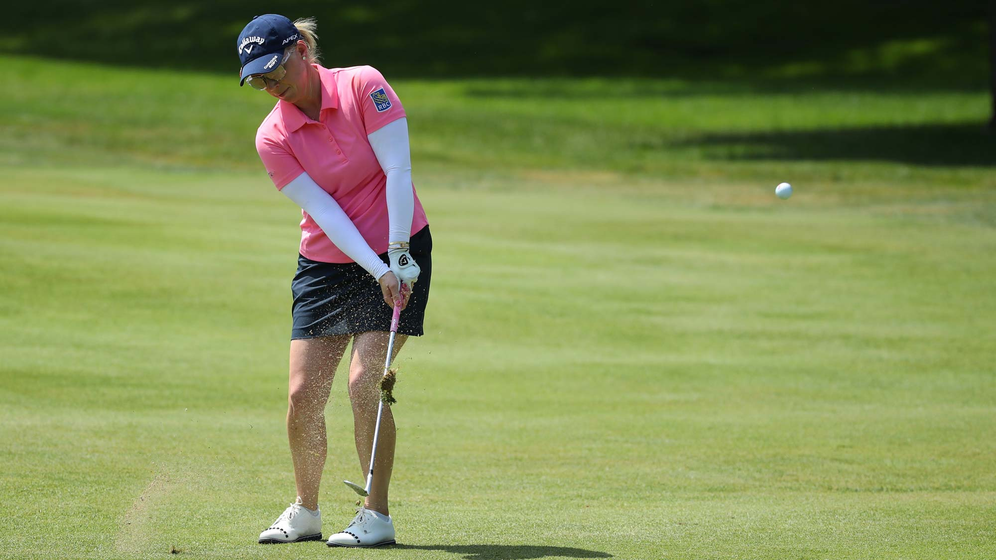 Morgan Pressel chips to the sixth green during round three of the Dow Great Lakes Bay Invitational