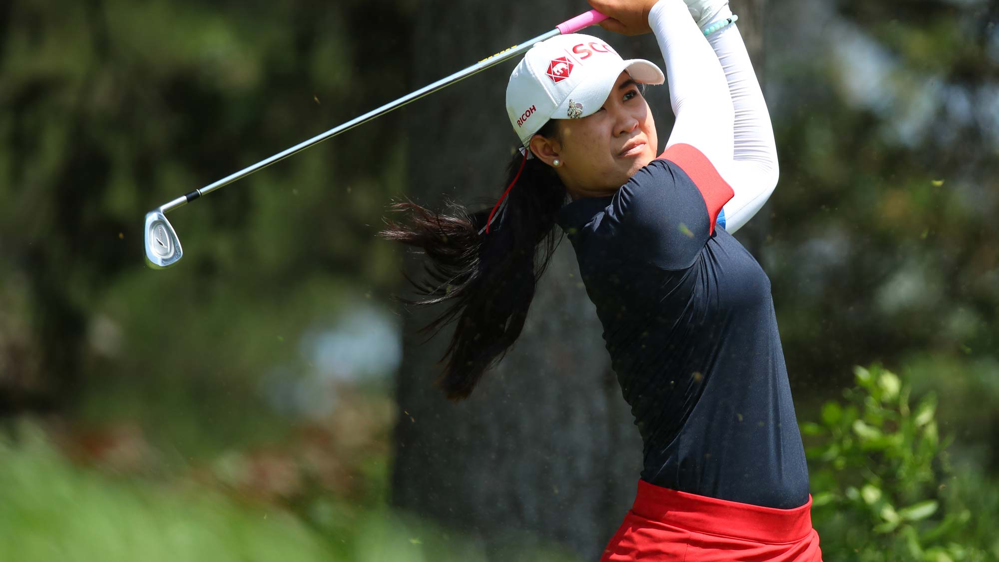 Pajaree Anannarukarn of Thailand watches her tee shot on the seventh hole during round three of the Dow Great Lakes Bay Invitational