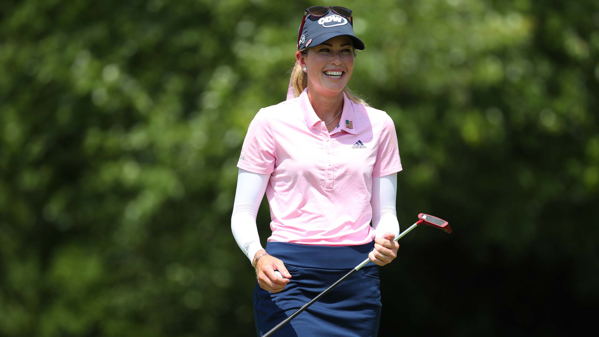 Paula Creamer smiles walking off the sixth green during round three of the Dow Great Lakes Bay Invitational