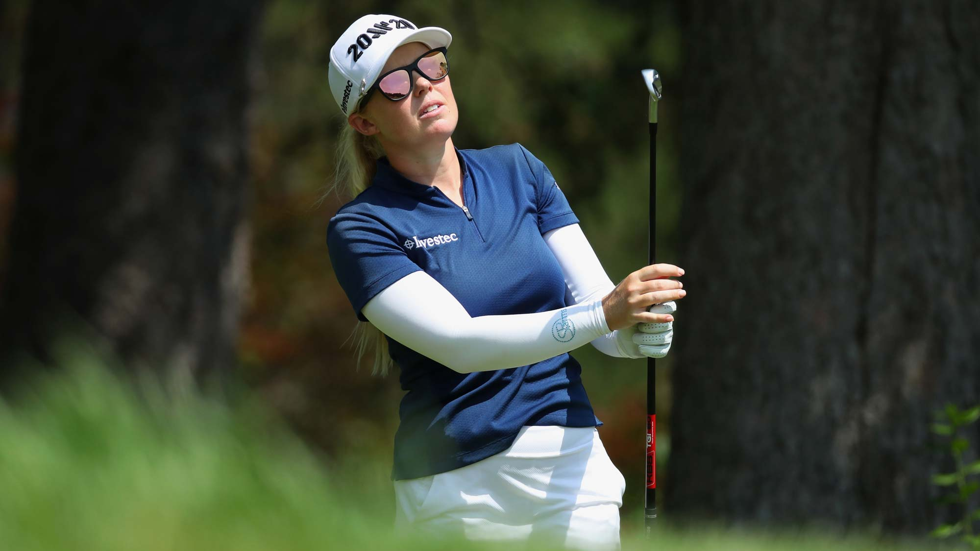 Stephanie Meadow of Northern Ireland watches her tee shot on the seventh hole during round three of the Dow Great Lakes Bay Invitational