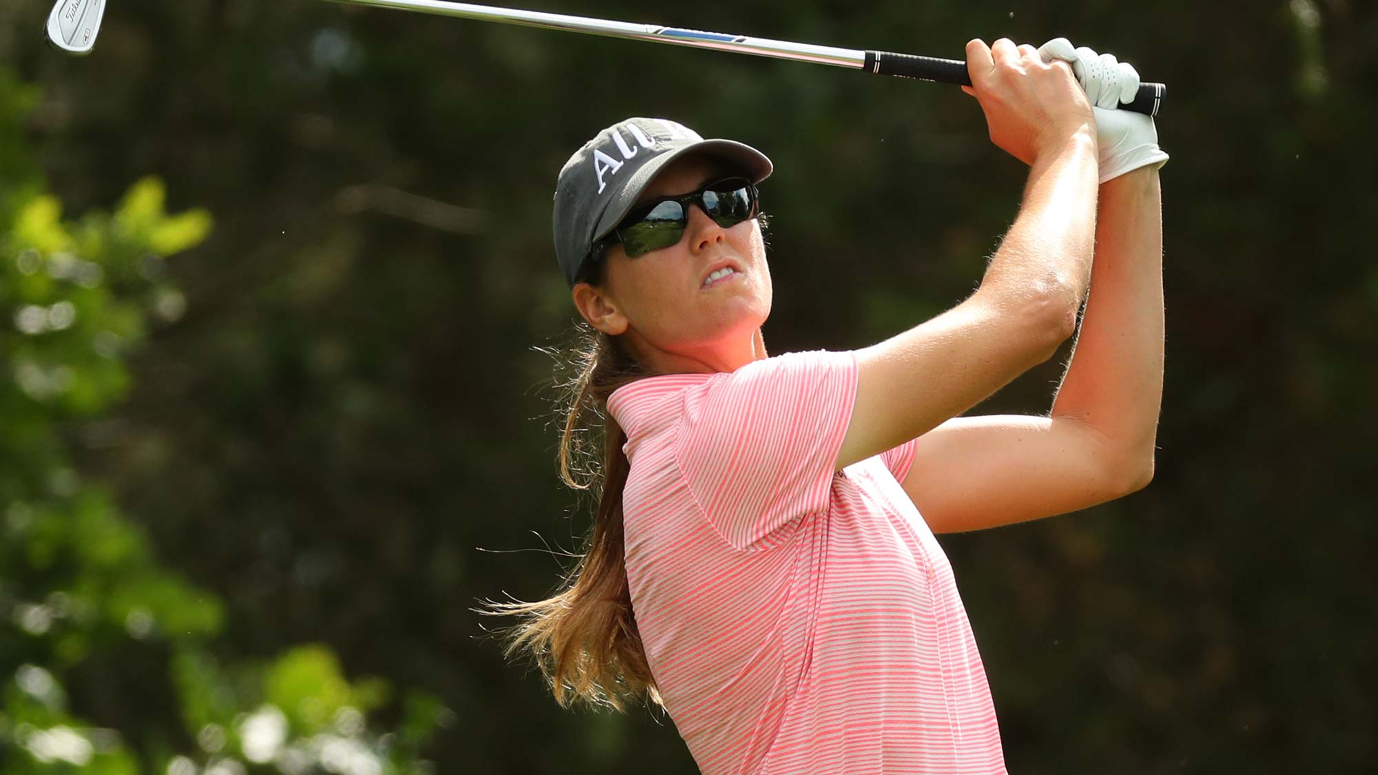 Cydney Clanton watches her tee shot on the seventh hole during the final round of the Dow Great Lakes Bay Invitational