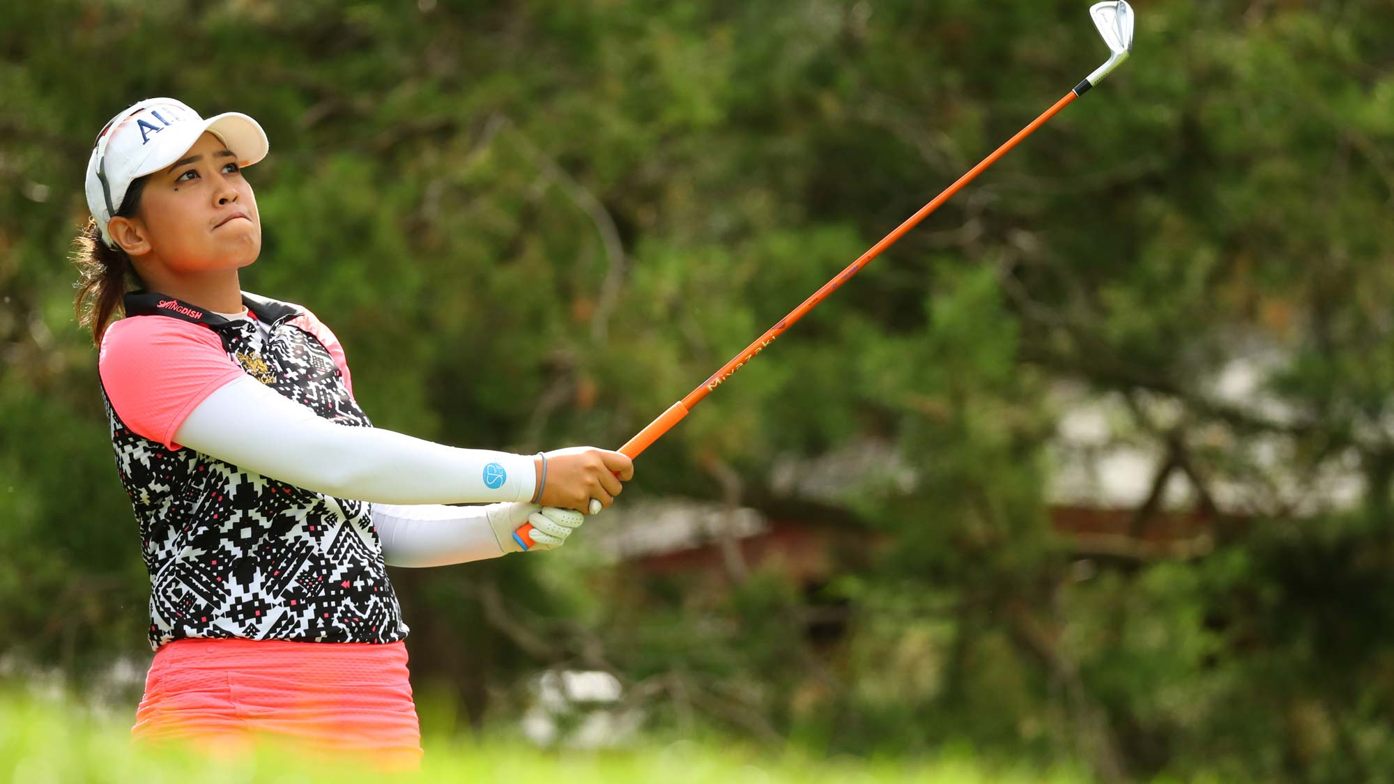Jasmine Suwannapura of Thailand watches her tee shot on the seventh hole during the final round of the Dow Great Lakes Bay Invitational