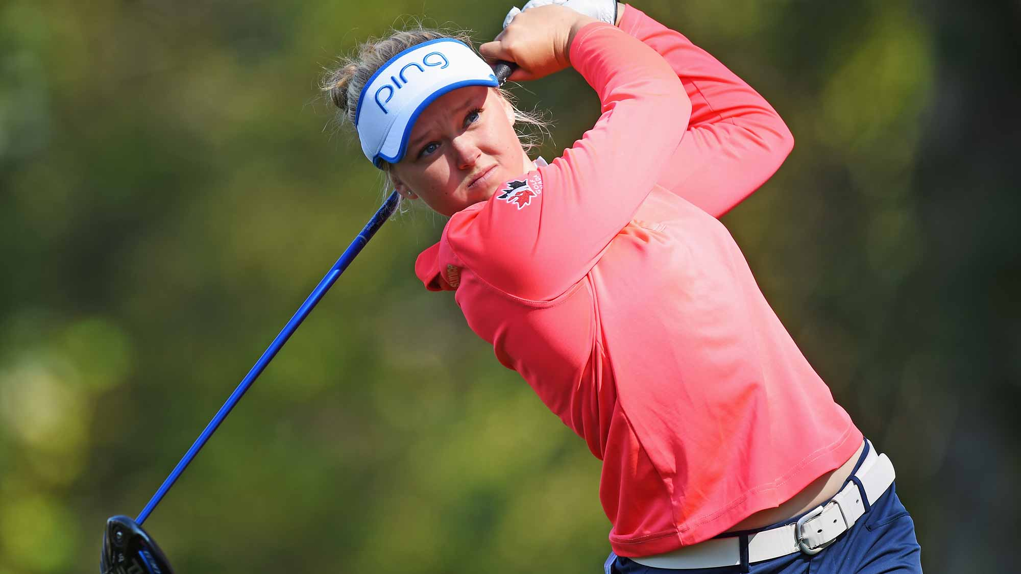 Brooke Henderson during the first round of the Evian Championship