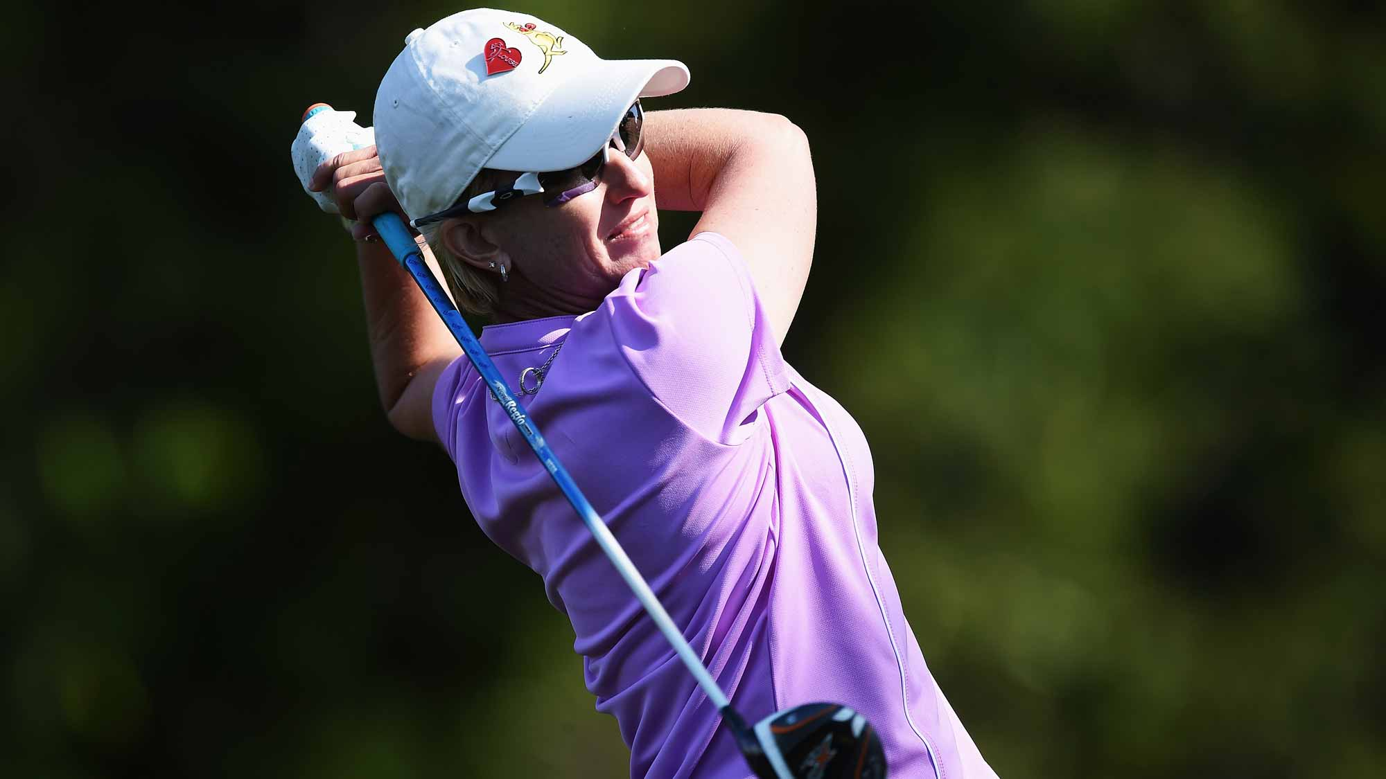 Karrie Webb of Australia plays a shot during the first round of the Evian Championship Golf on September 10, 2015 in Evian-les-Bains, France