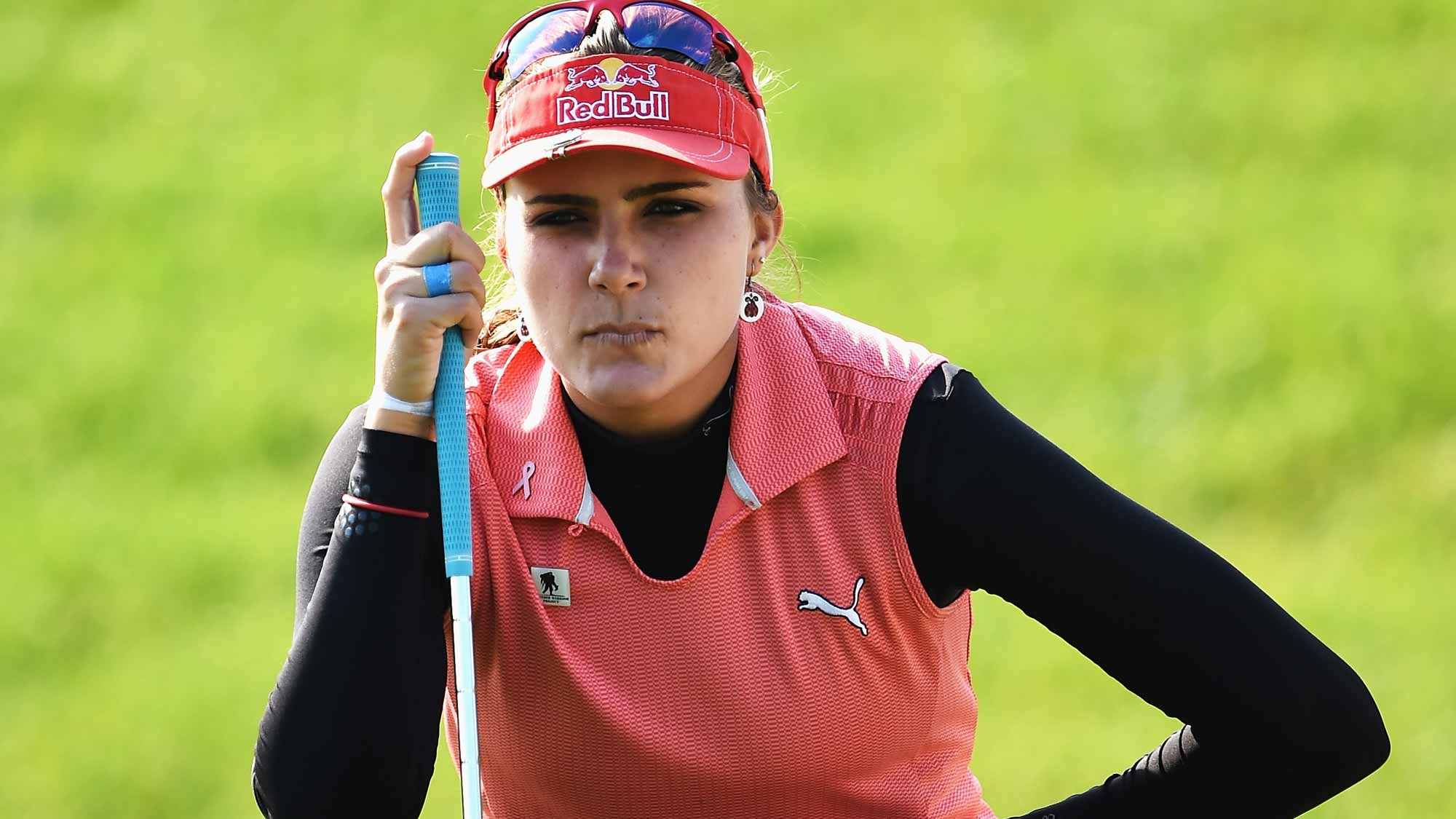 Lexi Thompson of USA lines up a putt during the first round of the Evian Championship Golf on September 10, 2015 in Evian-les-Bains, France