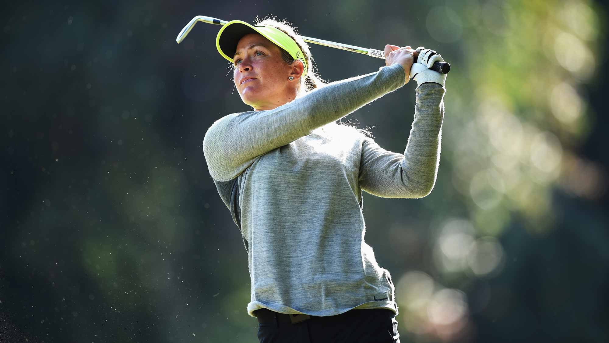 Suzann Pettersen during the first round of the Evian Championship