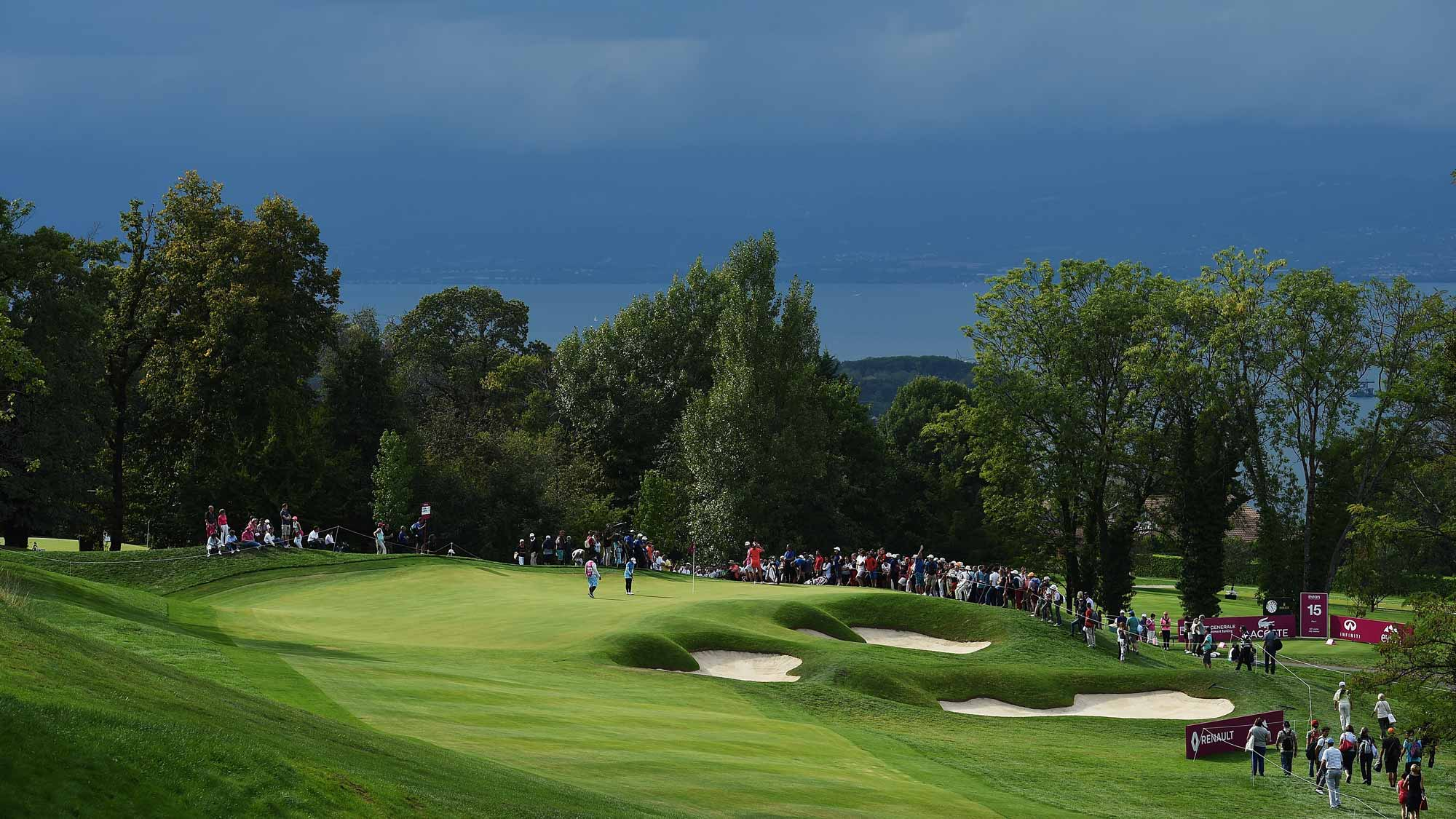 A general view of the 14th hole during the third round of the Evian Championship