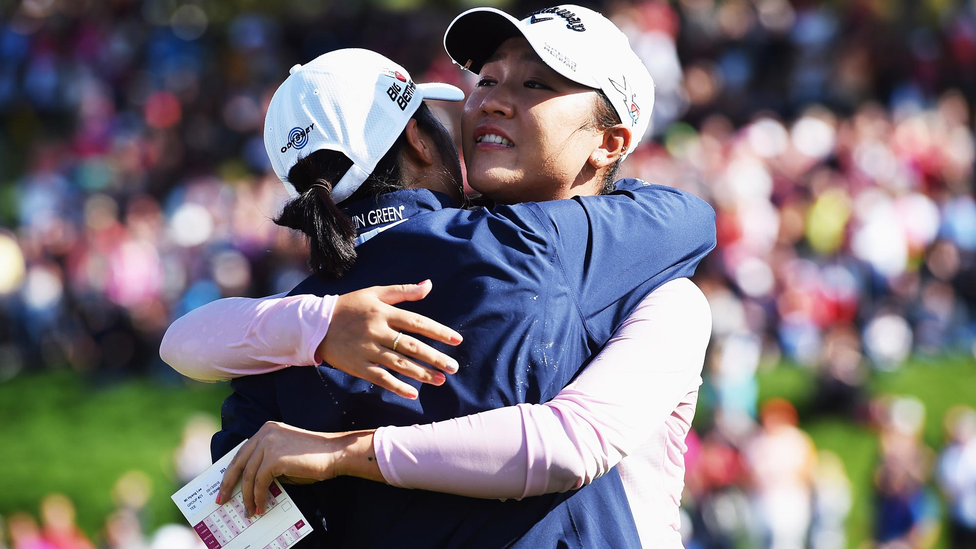 Lydia Ko of New Zealand celebrates winning on the 18th hole during the final round of the Evian Championship
