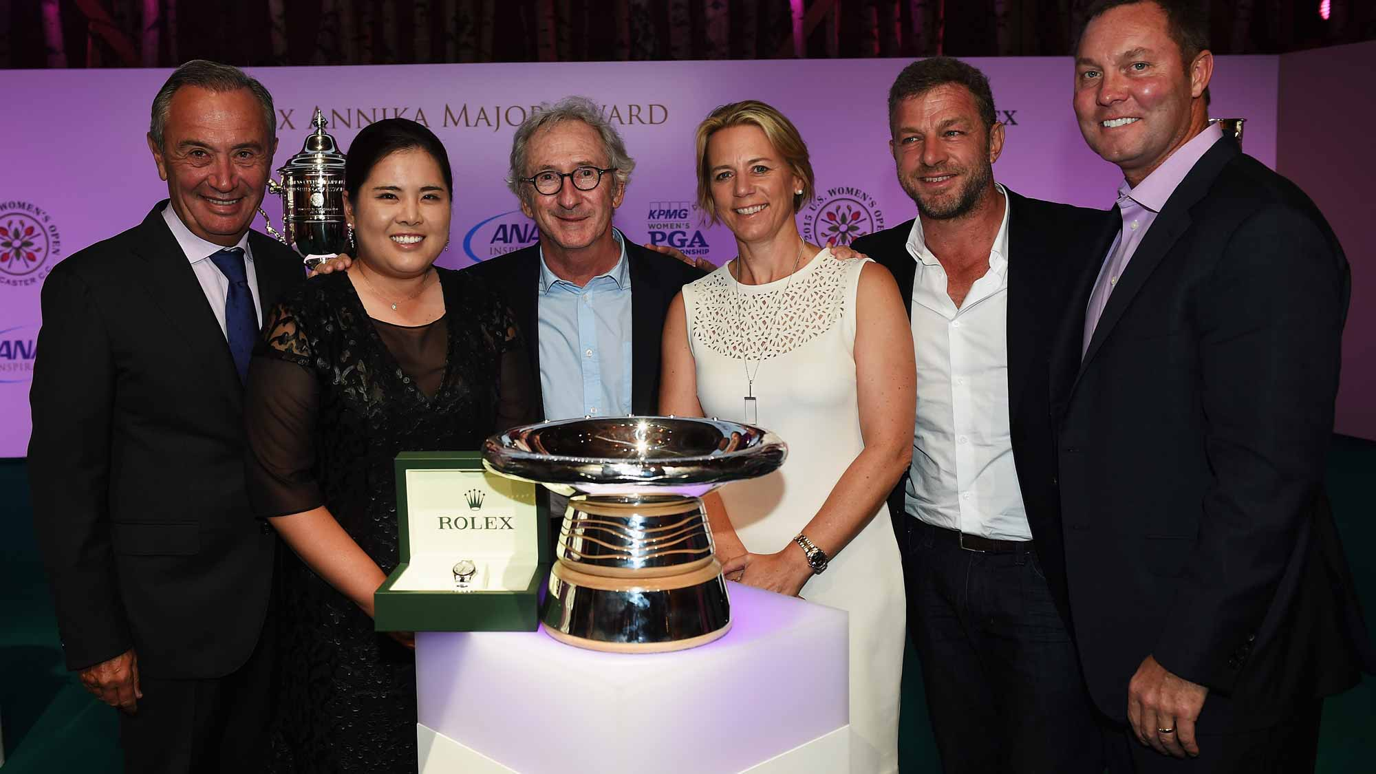 Jean-Noel Bioul, Inbee Park, Frank Riboud, Annika Sorestam, Jaques Bungert, and Mike Whan, LPGA Commissionerat the Rolex Award ceremony after the third round of the Evian Championship