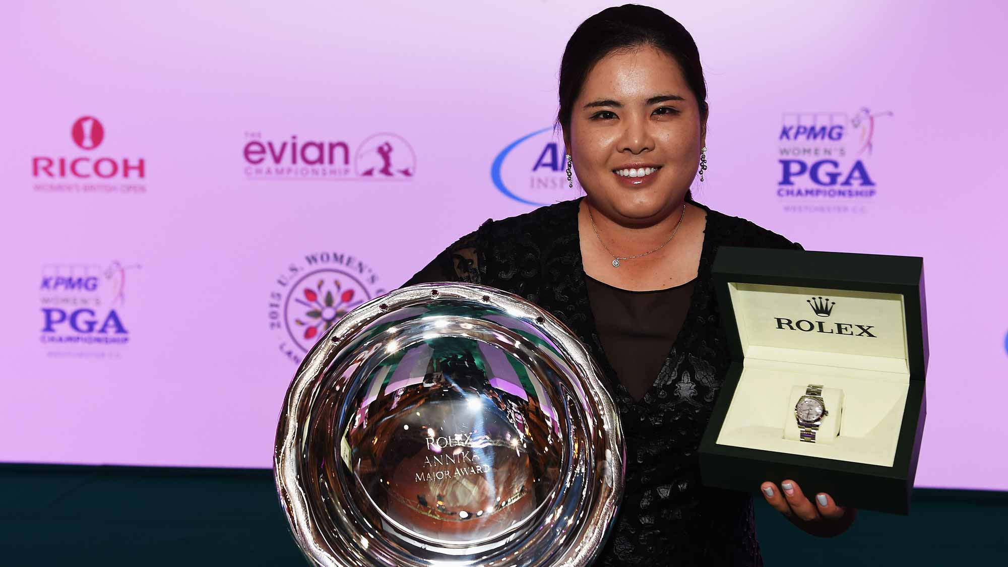 Inbee Park holds the Rolex Annika Major Award at the Rolex Award ceremony after the third round of the Evian Championship