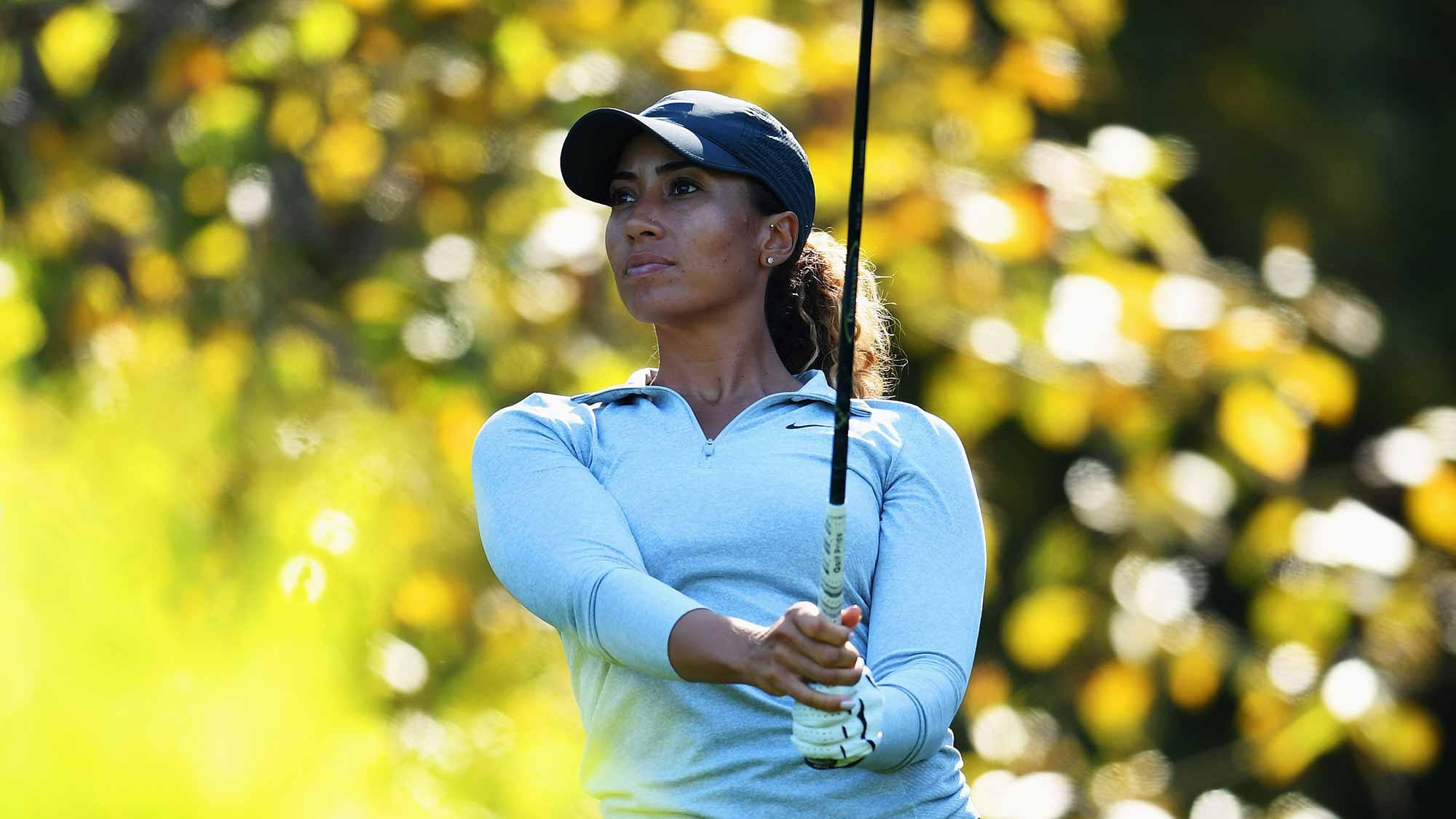 Cheyenne Woods of USA plays a shot during practice prior to the start of the Evian Championship