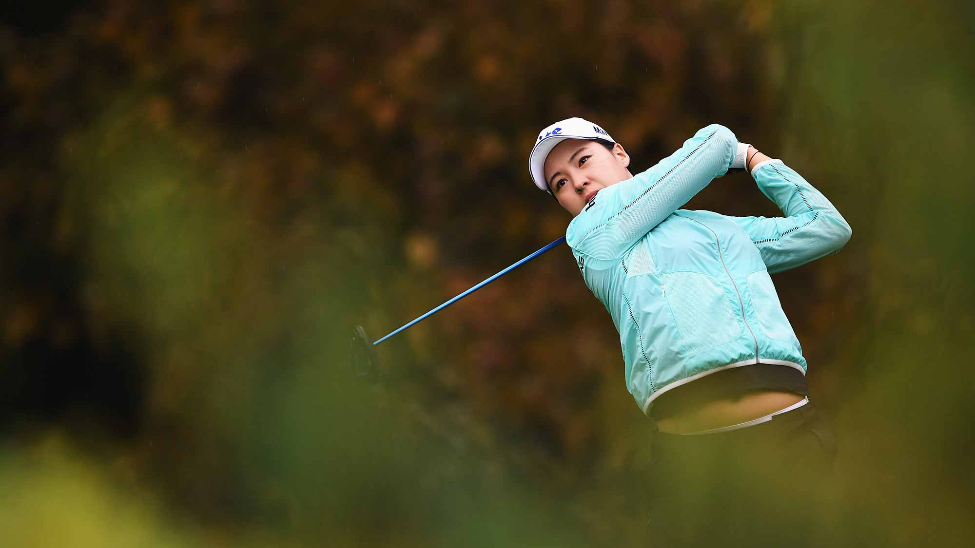 In Gee Chun of Korea plays a shot during the first round of The Evian Championship