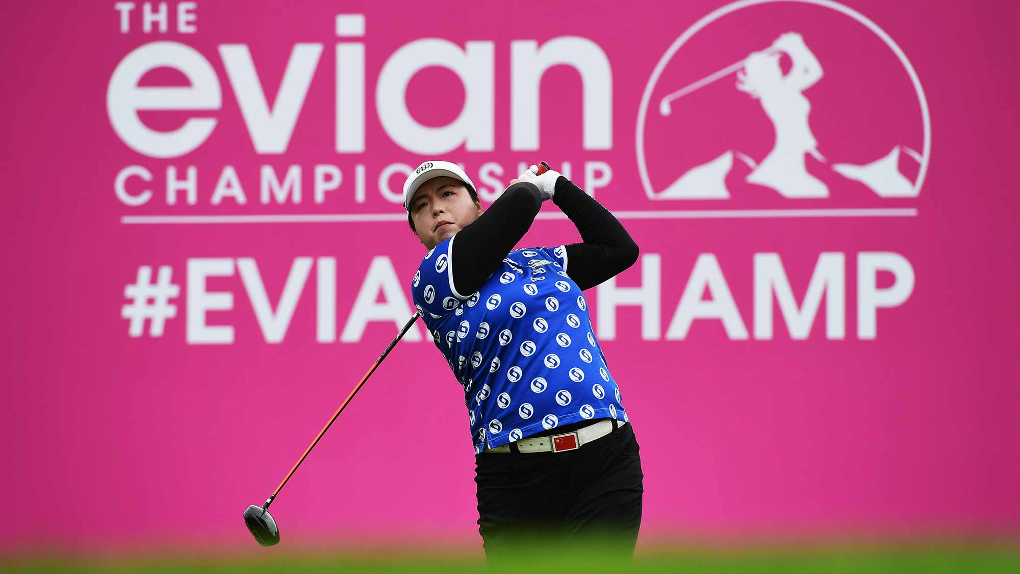 Shanshan Feng of China plays a shot during the second round of The Evian Championship
