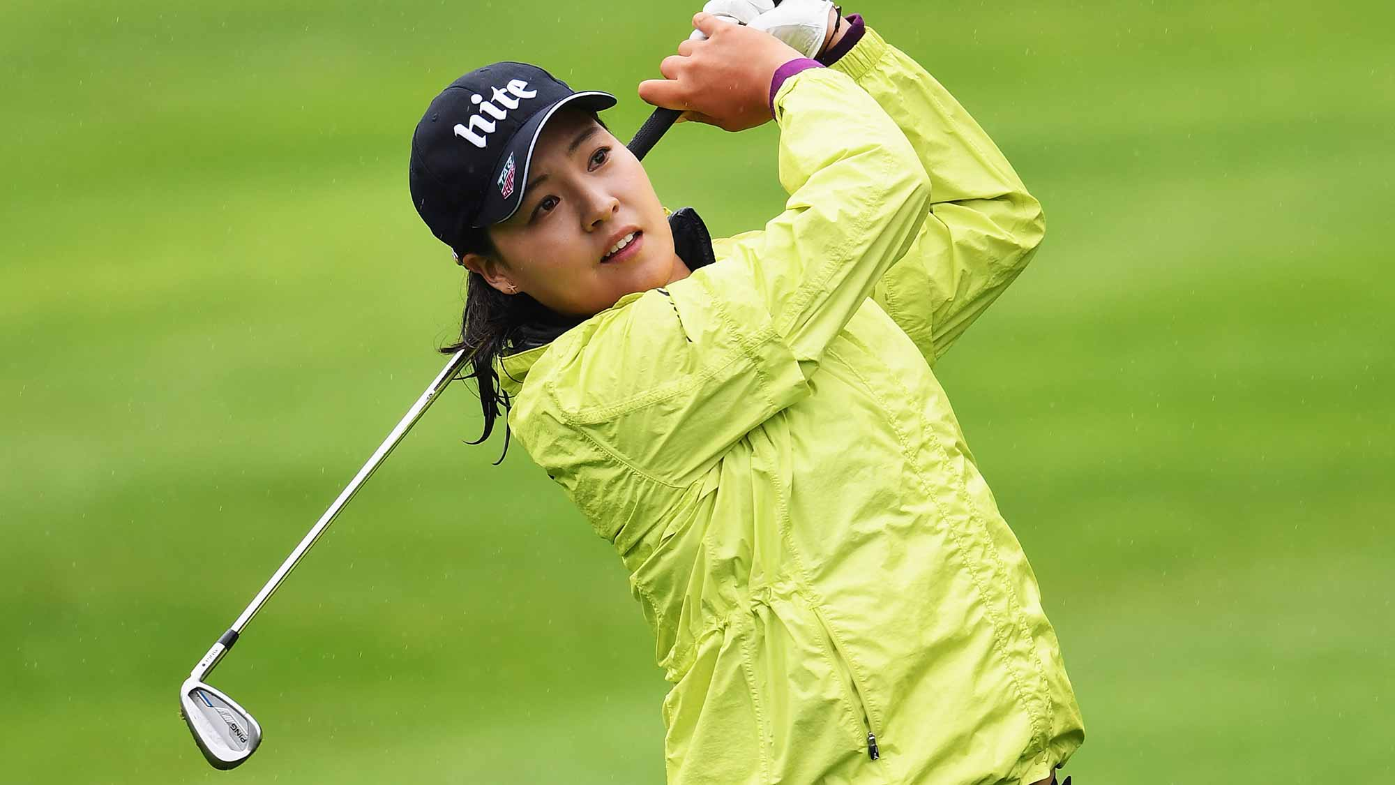 In Gee Chun of Korea plays a shot during the final round of The Evian Championship