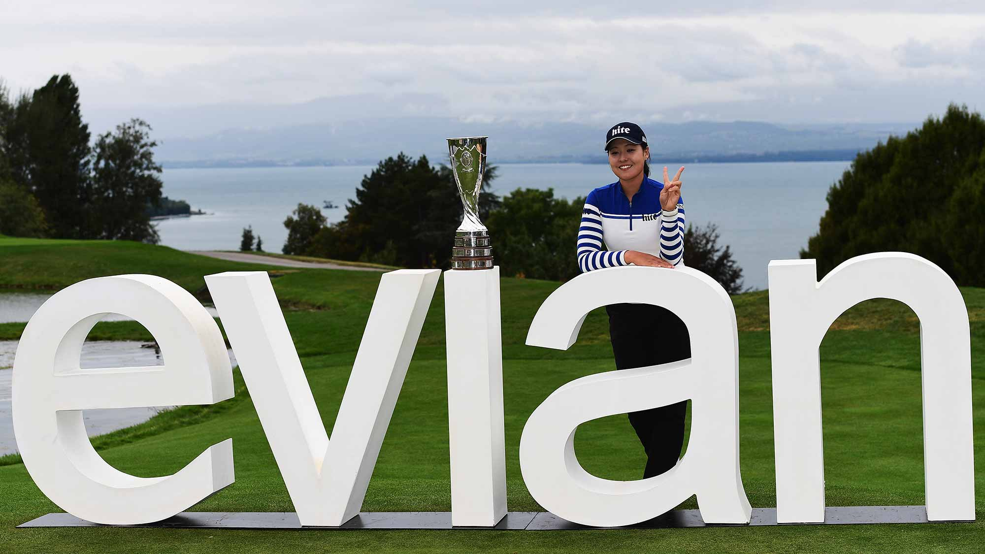 In Gee Chun of Korea with the trophy after winning The Evian Championship