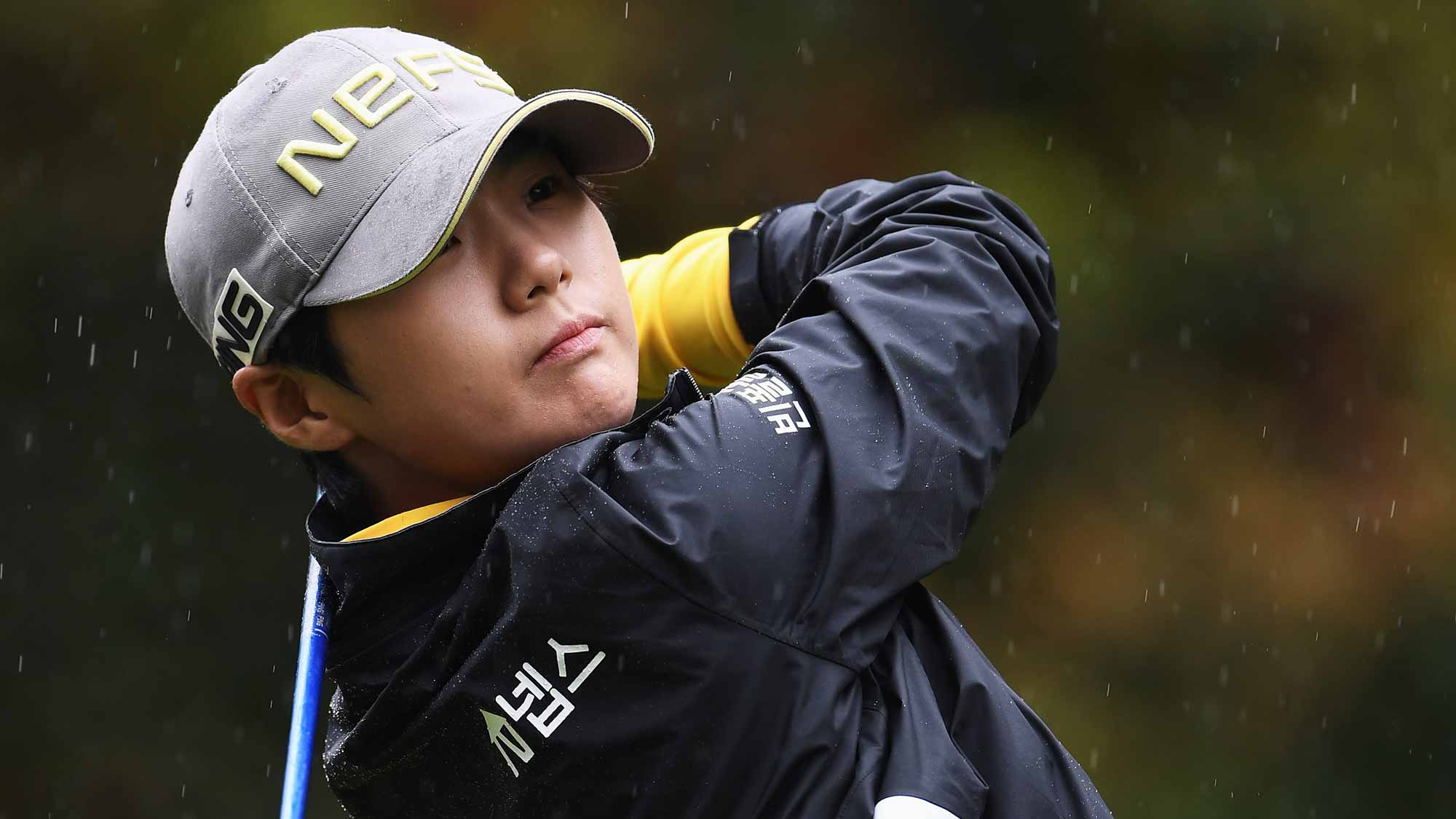 Sung Hyun Park of Korea plays a shot during the final round of The Evian Championship