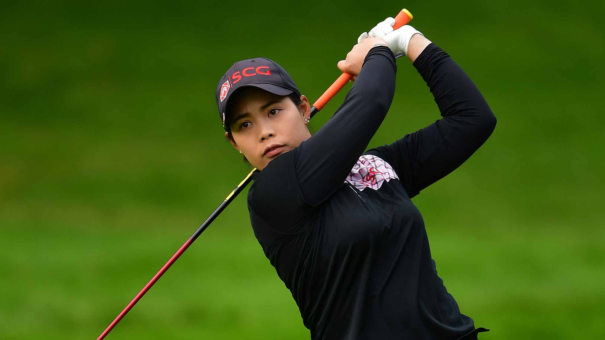 Moriya Jutanugarn of Thailand plays a shot during the second round of The Evian Championship 2017 at Evian Resort Golf Club