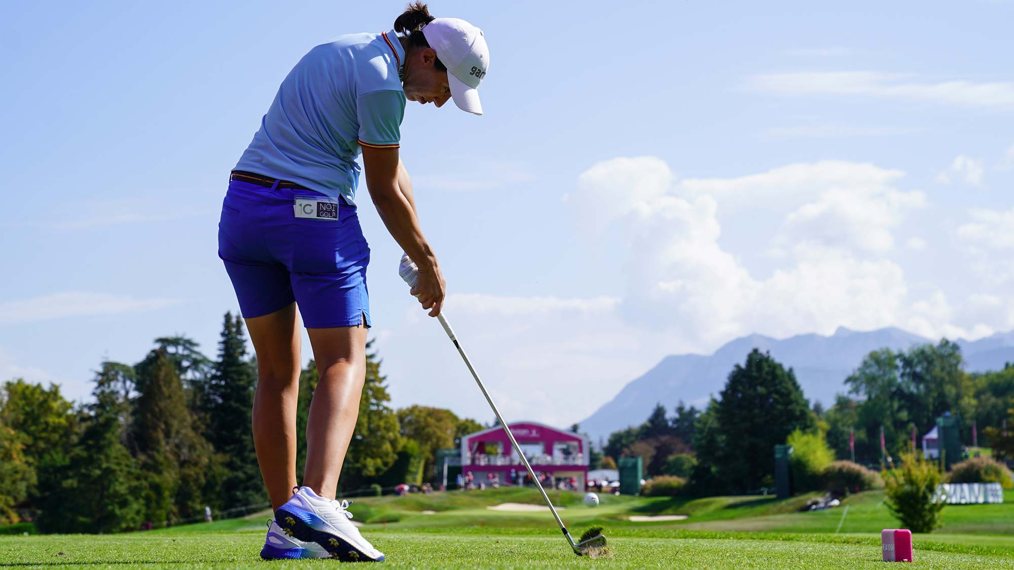 Carlota Ciganda of Spain plays a shot during the first round of The Evian Championship