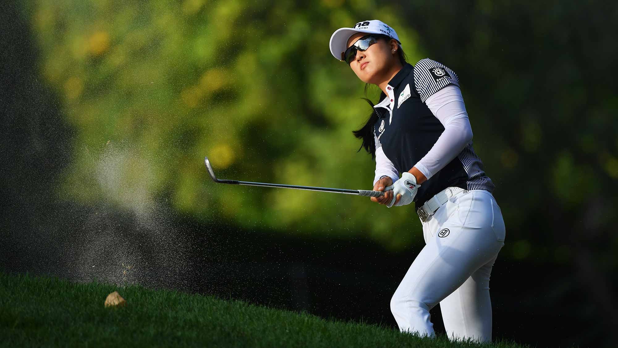 Minjee Lee of Australia plays from a bunker during day one of the Evian Championship at Evian Resort Golf Club on September 13, 2018 in Evian-les-Bains, France