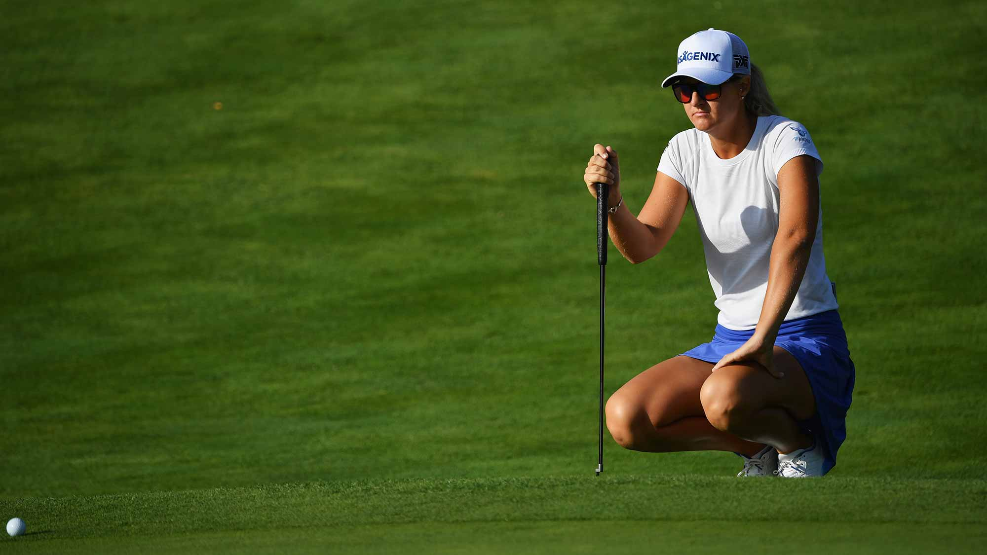 Anna Nordqvist of Sweden lines up a putt during day one of the Evian Championship at Evian Resort Golf Club on September 13, 2018 in Evian-les-Bains, France