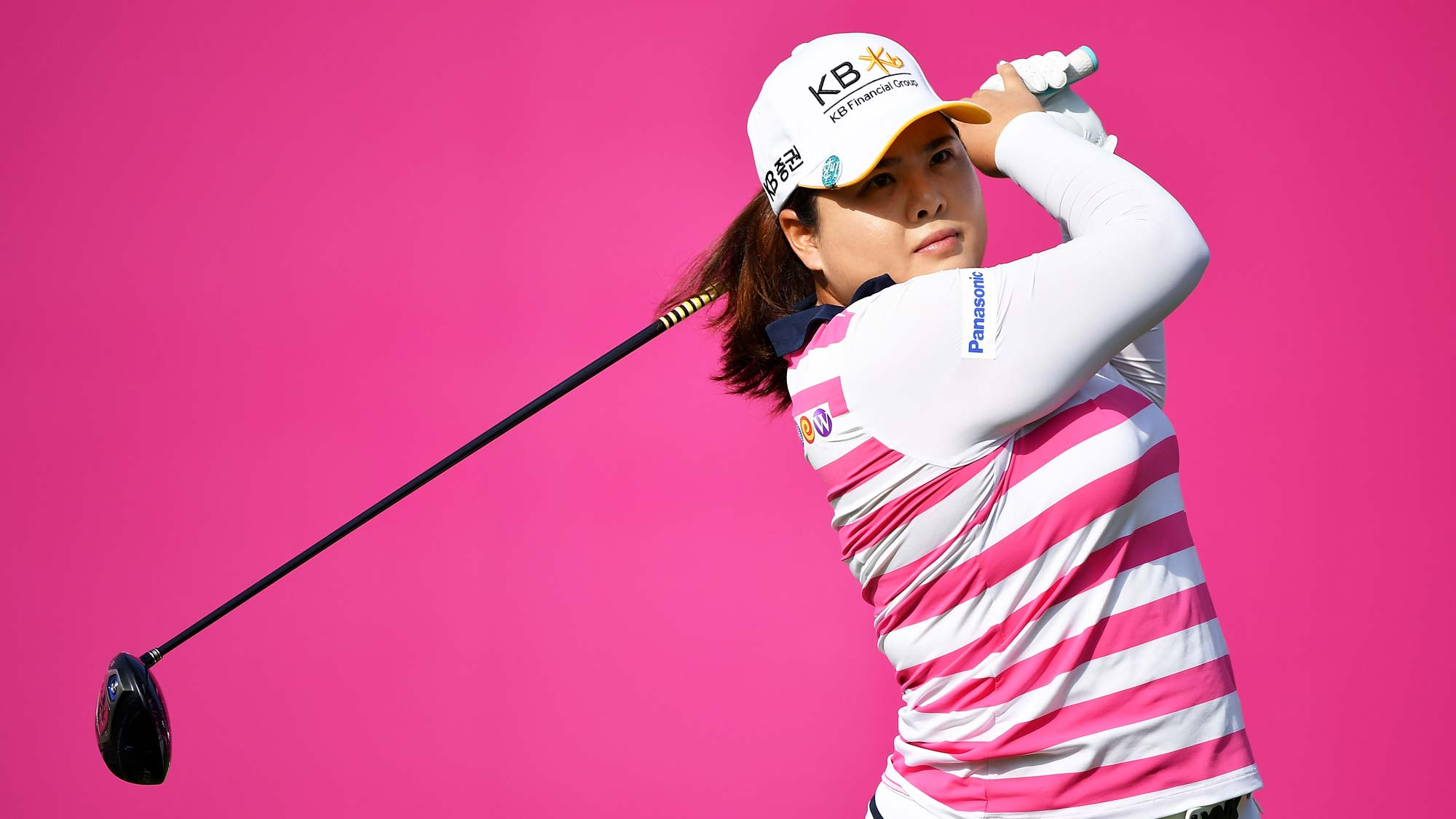 Inbee Park of South Korea tees off during day two of the Evian Championship