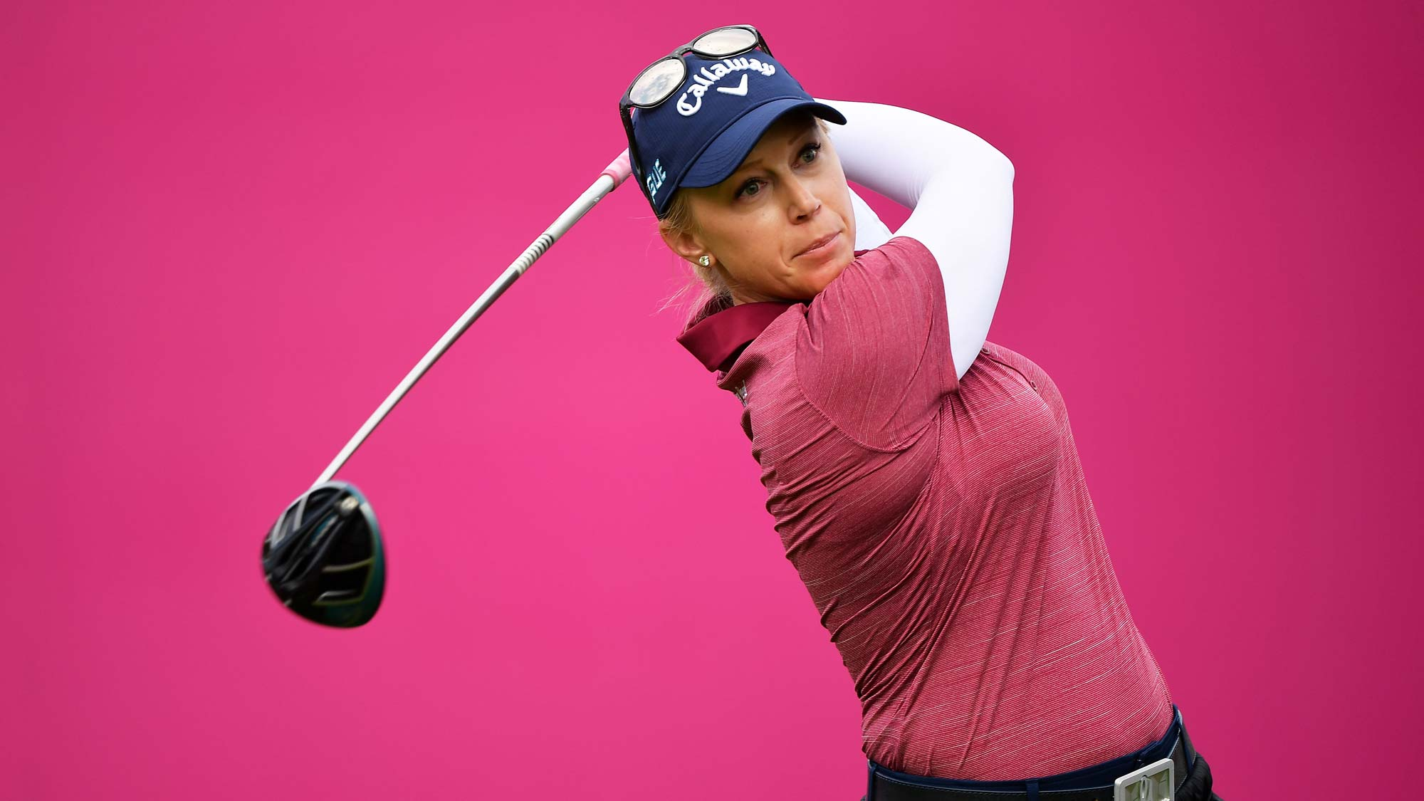 Morgan Pressel of The United States tees off during day two of the Evian Championship