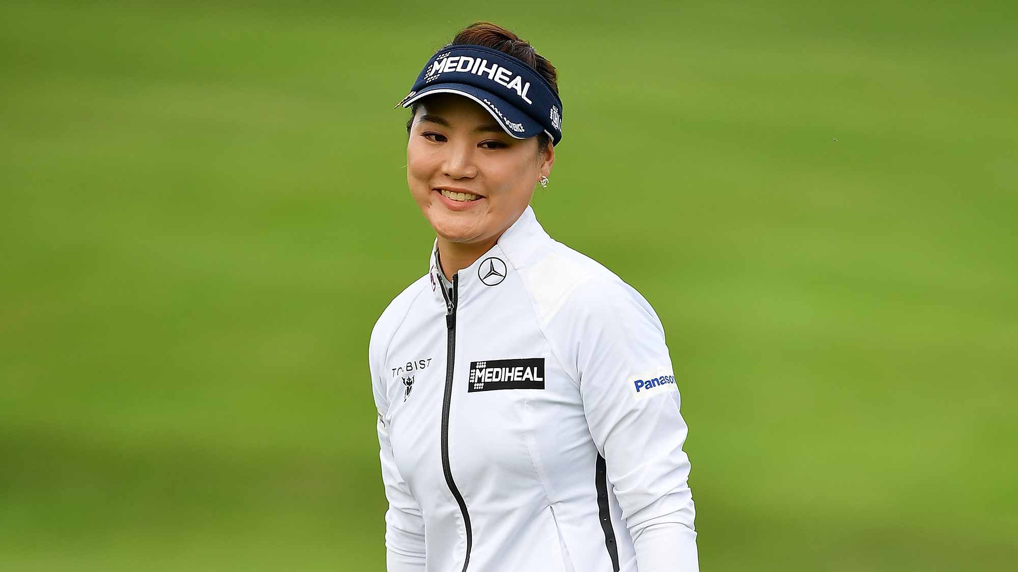 So Yeon Ryu of South Korea looks on during day two of the Evian Championship at Evian Resort Golf Club on September 14, 2018 in Evian-les-Bains, France
